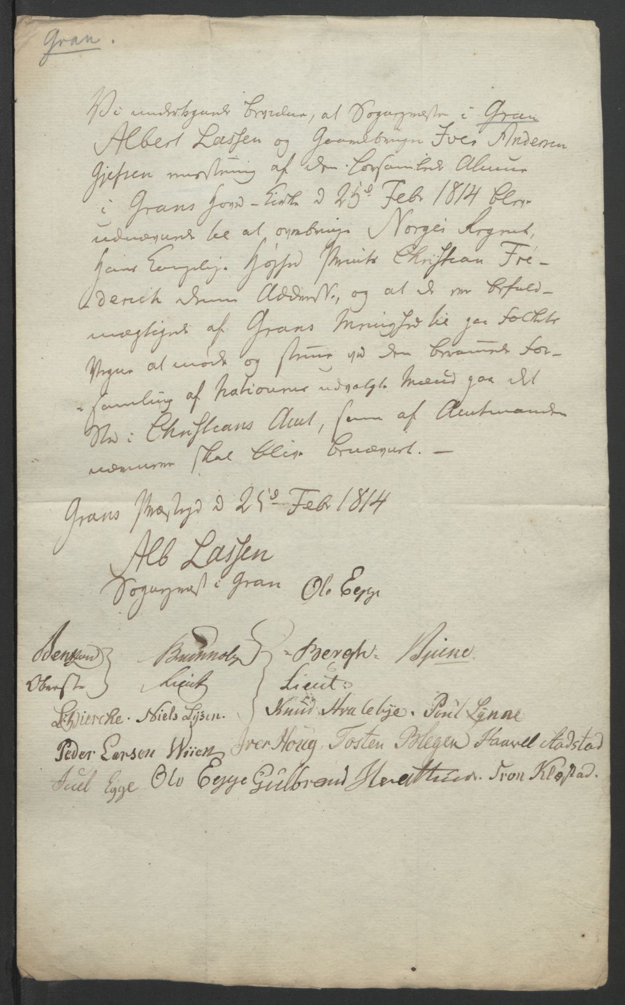 RA, Statsrådssekretariatet, D/Db/L0007: Fullmakter for Eidsvollsrepresentantene i 1814. , 1814, s. 262