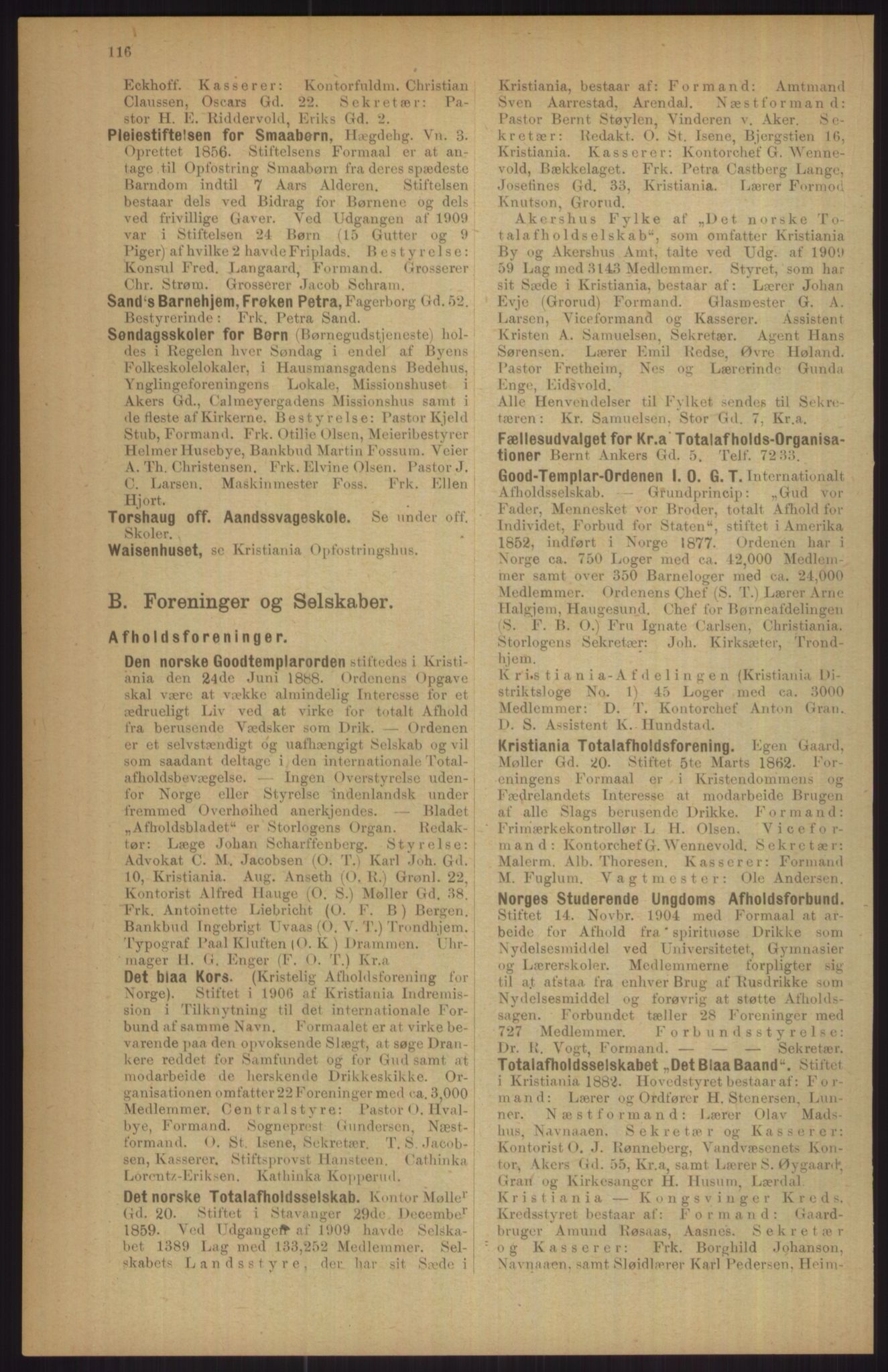 RA, Kristiania adressebok (publikasjon)*, 1911, s. 116