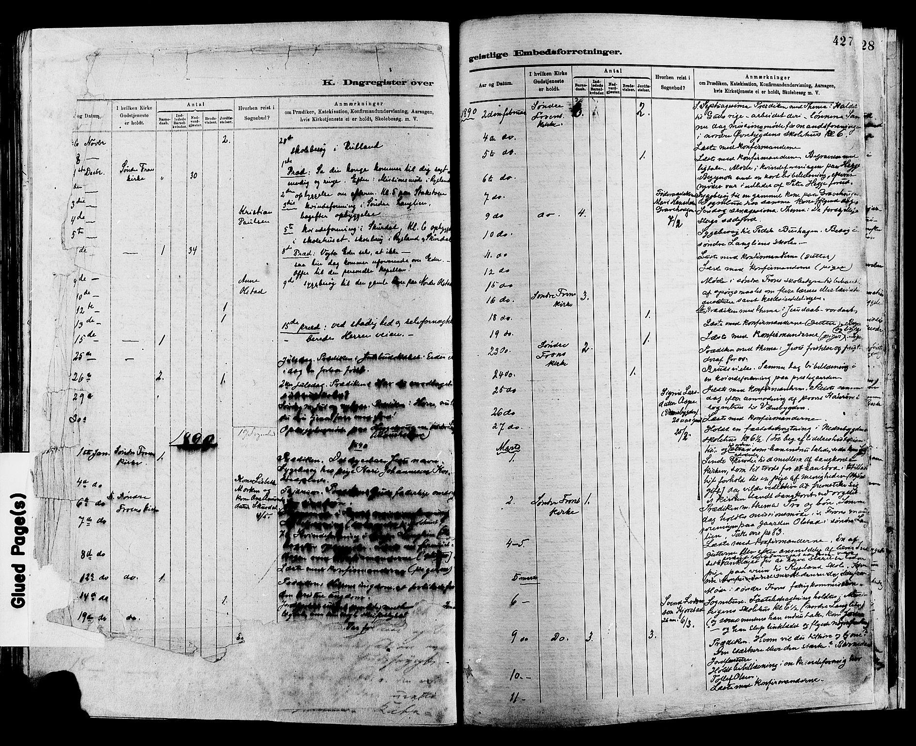 SAH, Sør-Fron prestekontor, H/Ha/Haa/L0003: Ministerialbok nr. 3, 1881-1897, s. 427