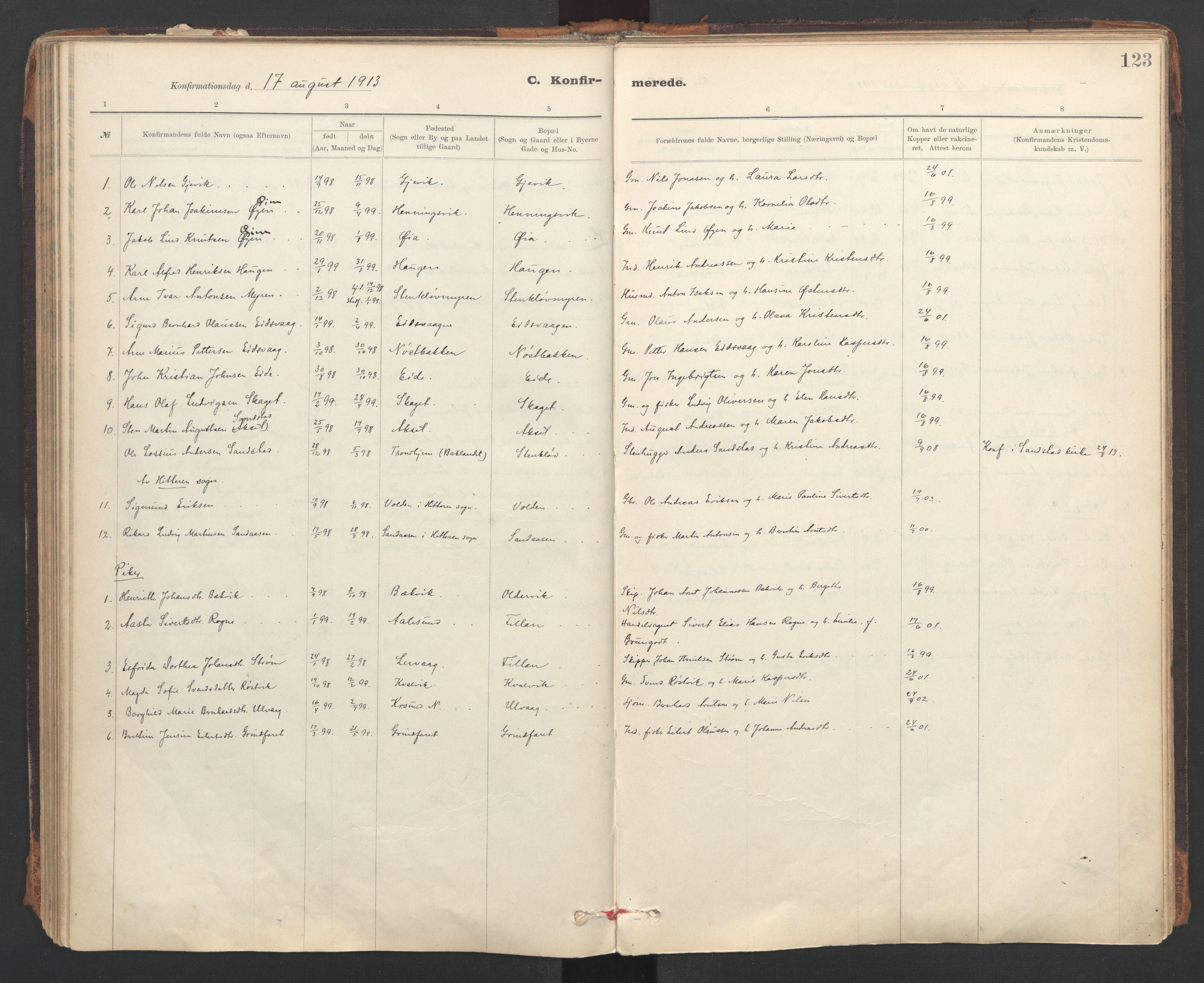 SAT, Ministerialprotokoller, klokkerbøker og fødselsregistre - Sør-Trøndelag, 637/L0559: Ministerialbok nr. 637A02, 1899-1923, s. 123