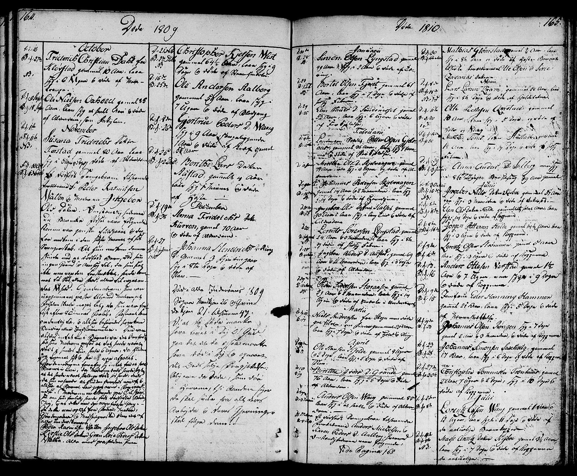 SAT, Ministerialprotokoller, klokkerbøker og fødselsregistre - Nord-Trøndelag, 730/L0274: Ministerialbok nr. 730A03, 1802-1816, s. 164-165