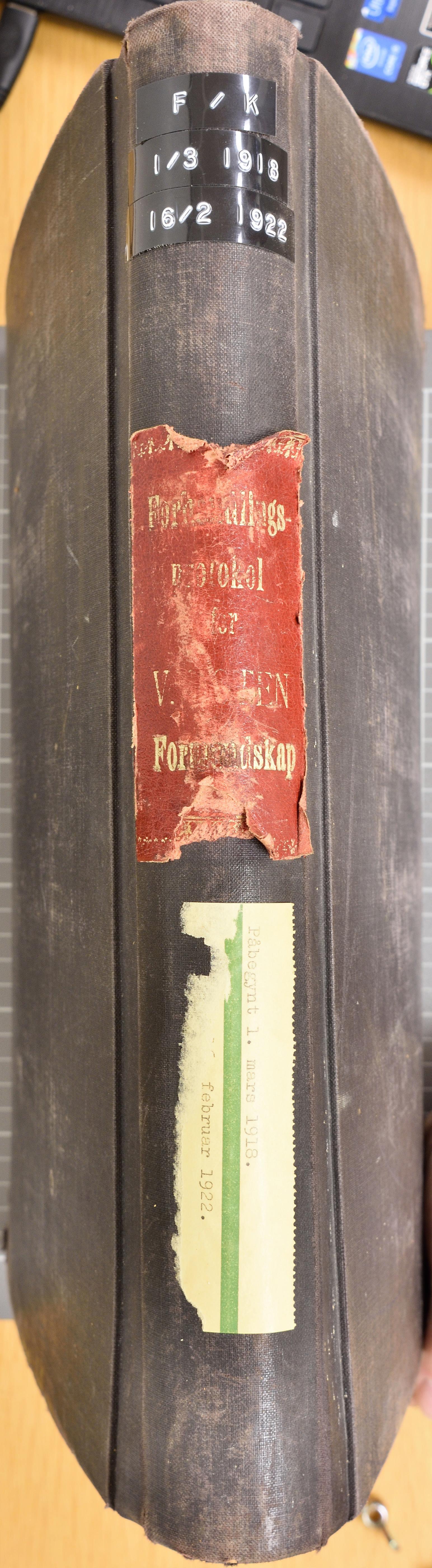 KVT, Vestre Toten kommunearkiv*, -: Formannskapsprotokoll, 1918-1922