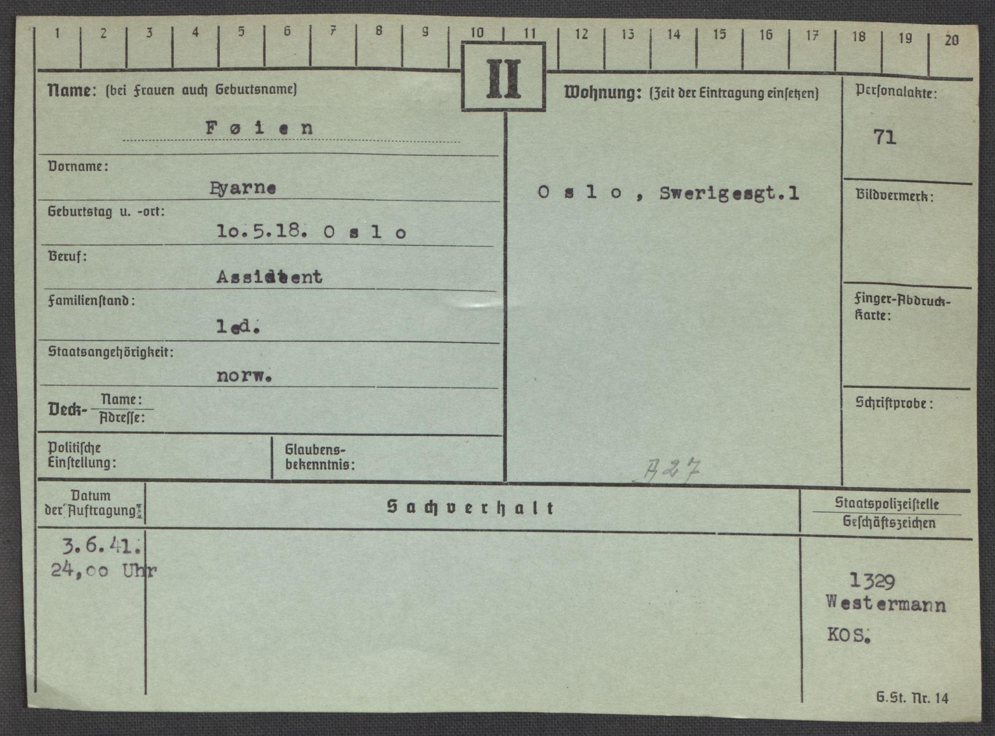RA, Befehlshaber der Sicherheitspolizei und des SD, E/Ea/Eaa/L0003: Register over norske fanger i Møllergata 19: Eng-Hag, 1940-1945, s. 689