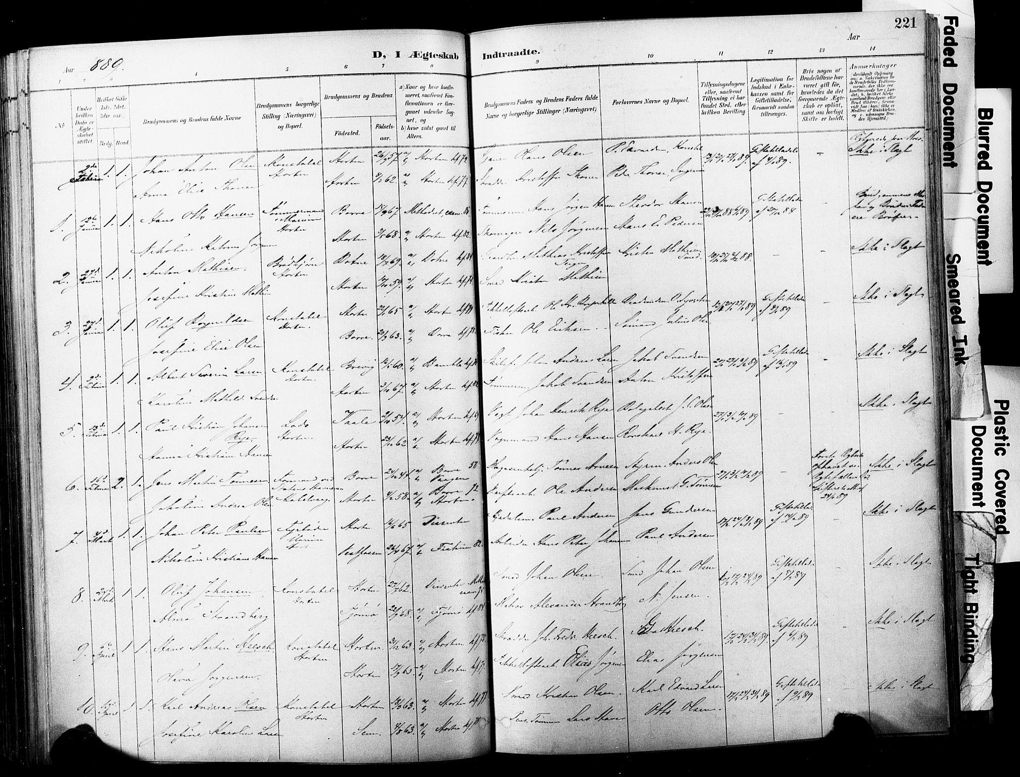 SAKO, Horten kirkebøker, F/Fa/L0004: Ministerialbok nr. 4, 1888-1895, s. 221