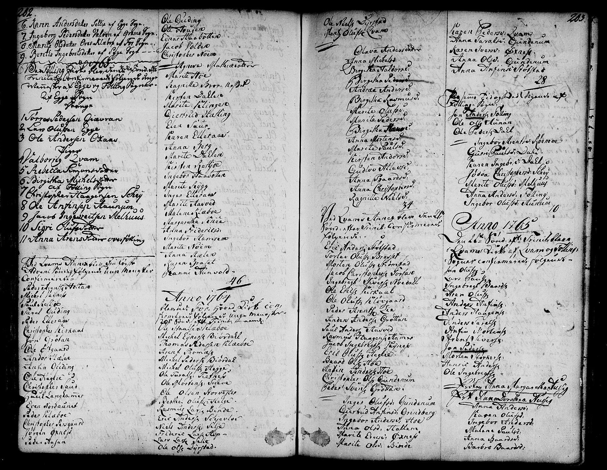 SAT, Ministerialprotokoller, klokkerbøker og fødselsregistre - Nord-Trøndelag, 746/L0440: Ministerialbok nr. 746A02, 1760-1815, s. 202-203
