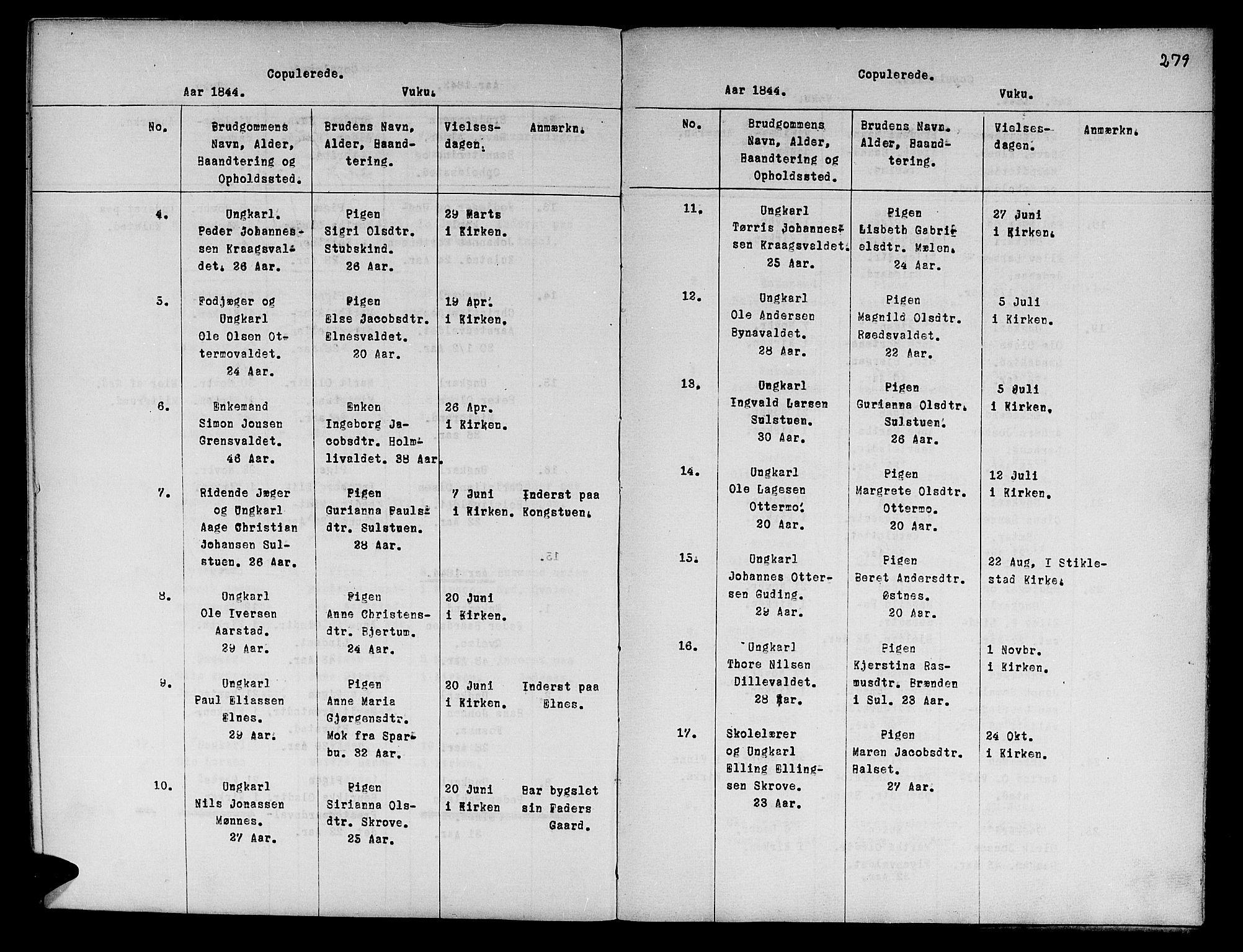 SAT, Ministerialprotokoller, klokkerbøker og fødselsregistre - Nord-Trøndelag, 724/L0265: Klokkerbok nr. 724C01, 1816-1845, s. 279