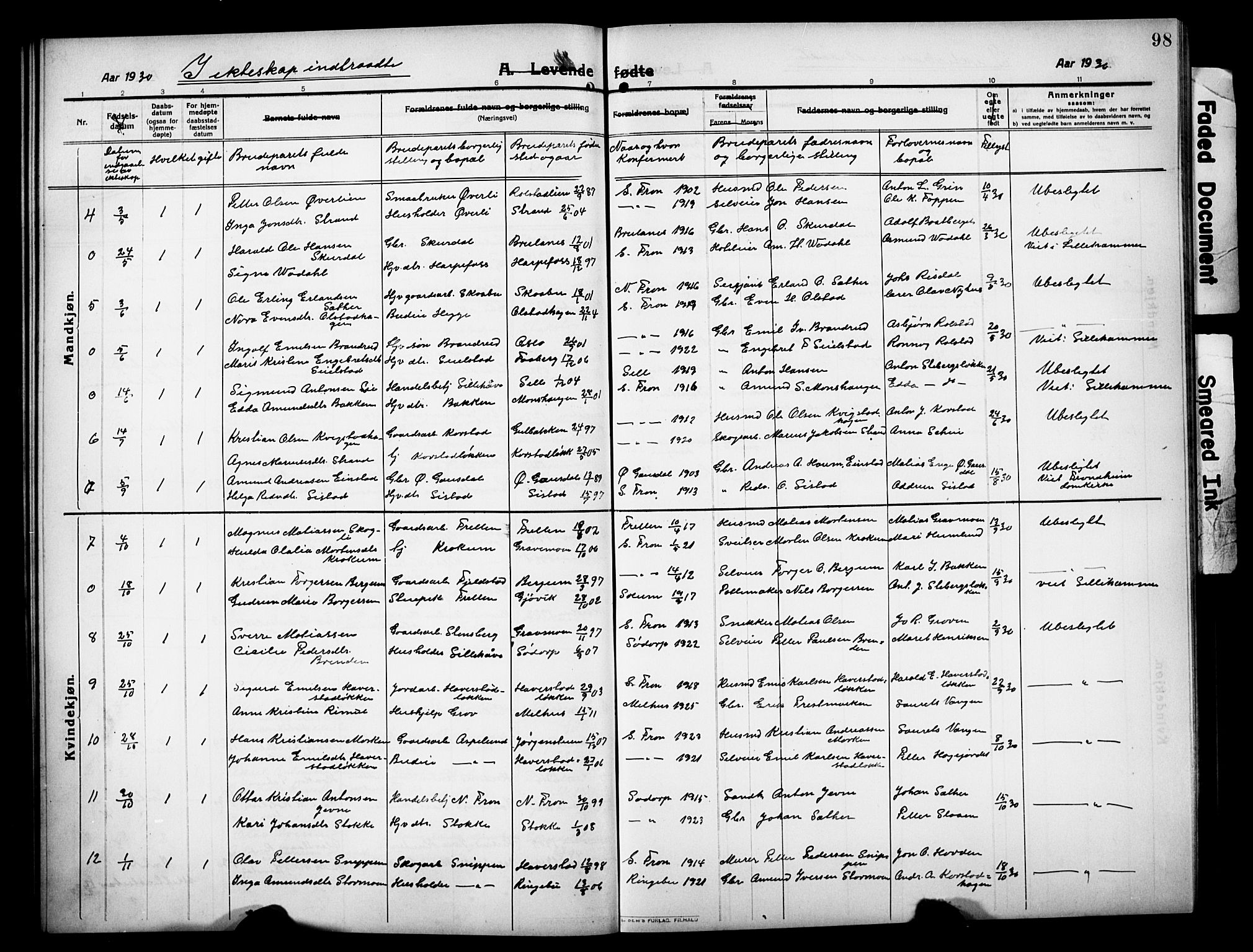 SAH, Sør-Fron prestekontor, H/Ha/Hab/L0005: Klokkerbok nr. 5, 1912-1930, s. 98