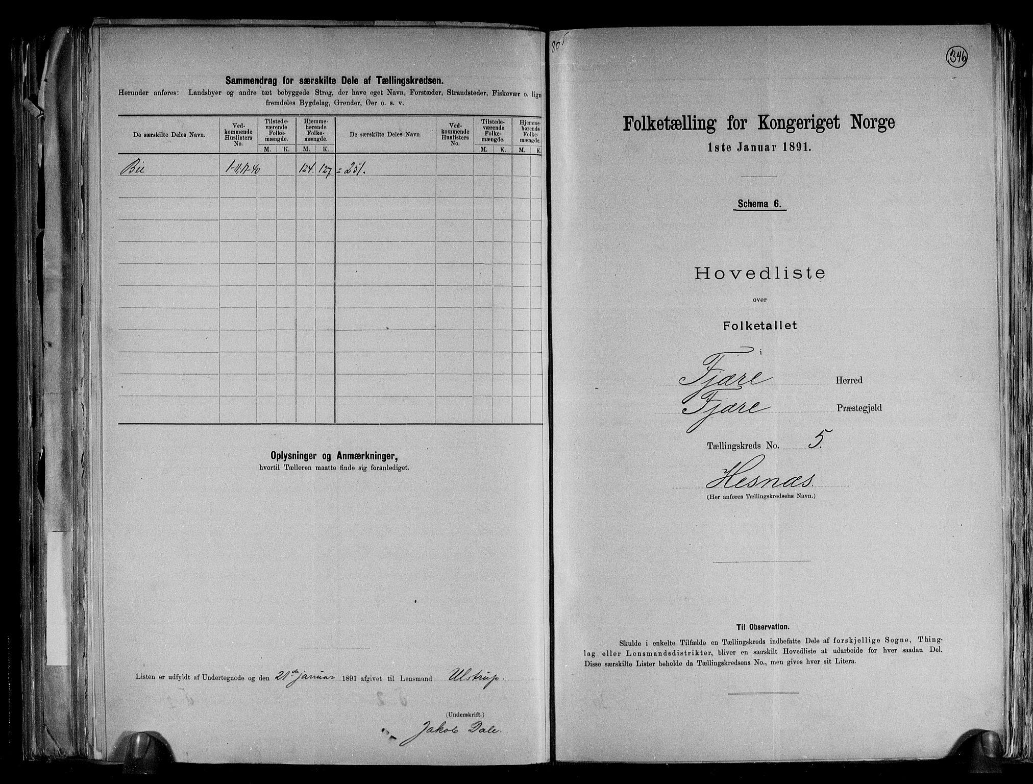 RA, Folketelling 1891 for 0923 Fjære herred, 1891, s. 13
