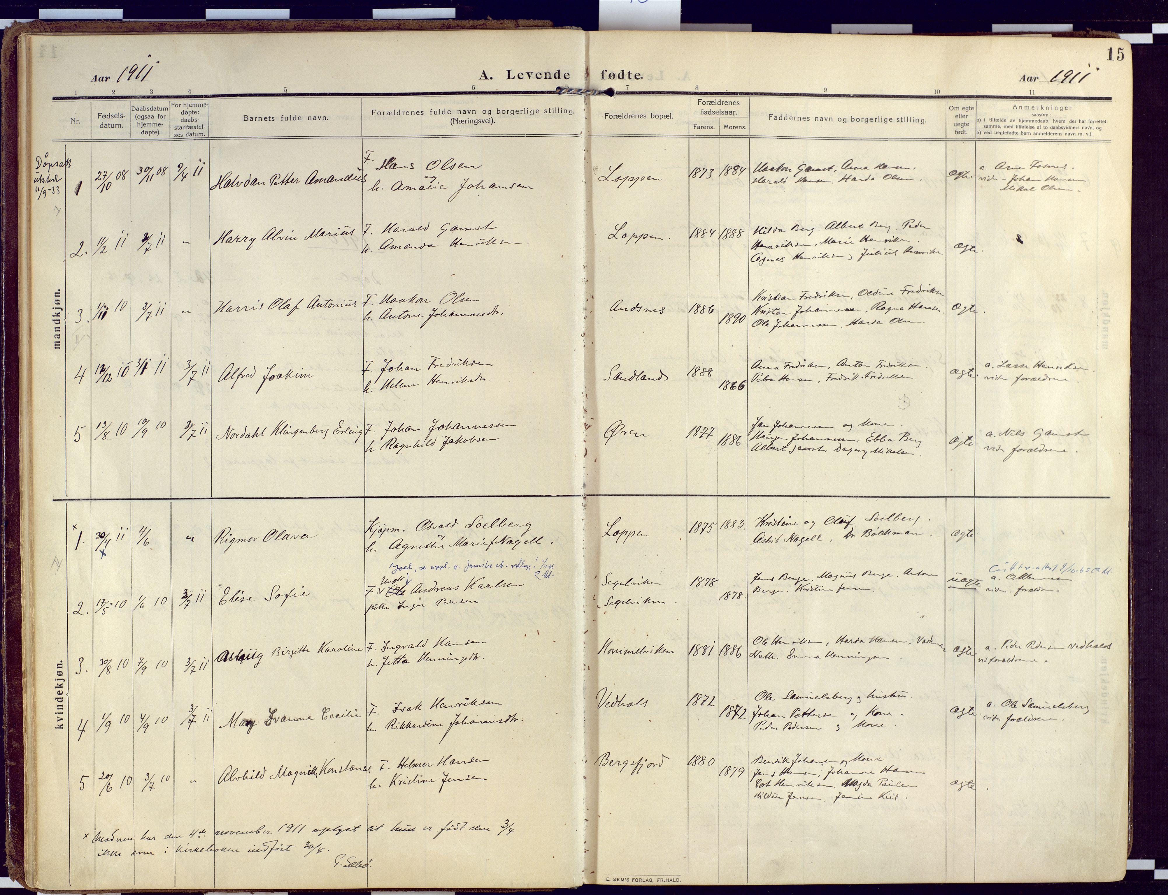 SATØ, Loppa sokneprestkontor, H/Ha/L0011kirke: Ministerialbok nr. 11, 1909-1919, s. 15