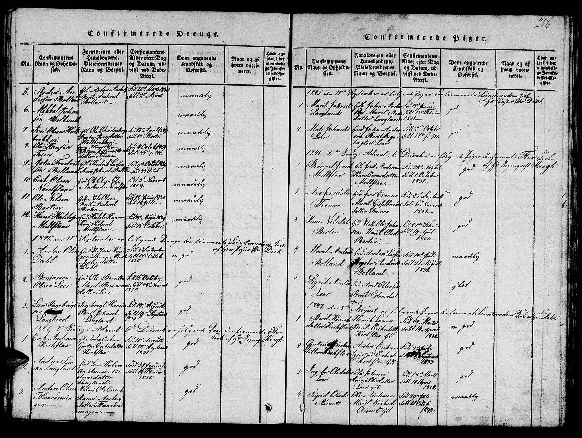SAT, Ministerialprotokoller, klokkerbøker og fødselsregistre - Sør-Trøndelag, 693/L1121: Klokkerbok nr. 693C02, 1816-1869, s. 256