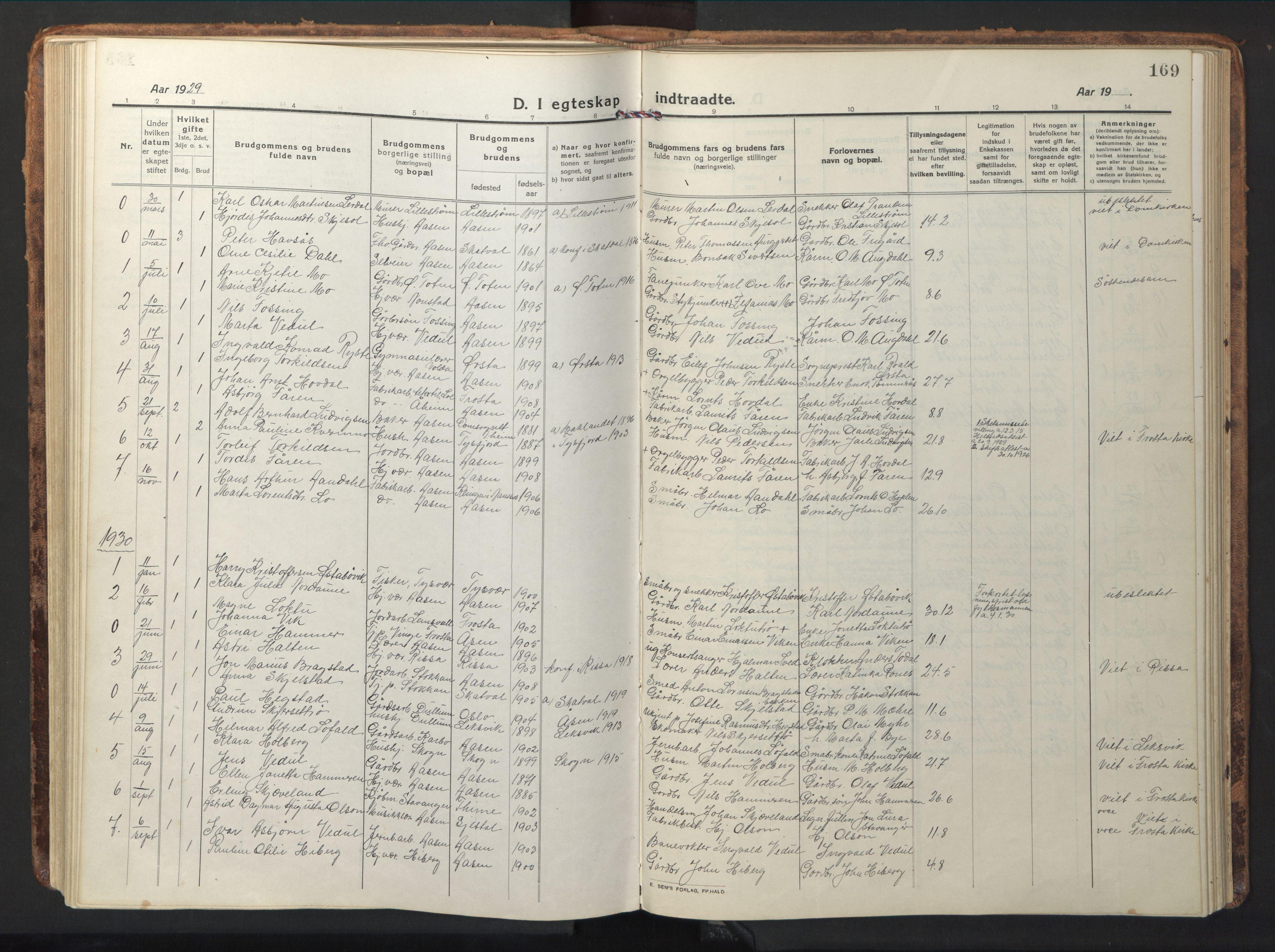 SAT, Ministerialprotokoller, klokkerbøker og fødselsregistre - Nord-Trøndelag, 714/L0136: Klokkerbok nr. 714C05, 1918-1957, s. 169