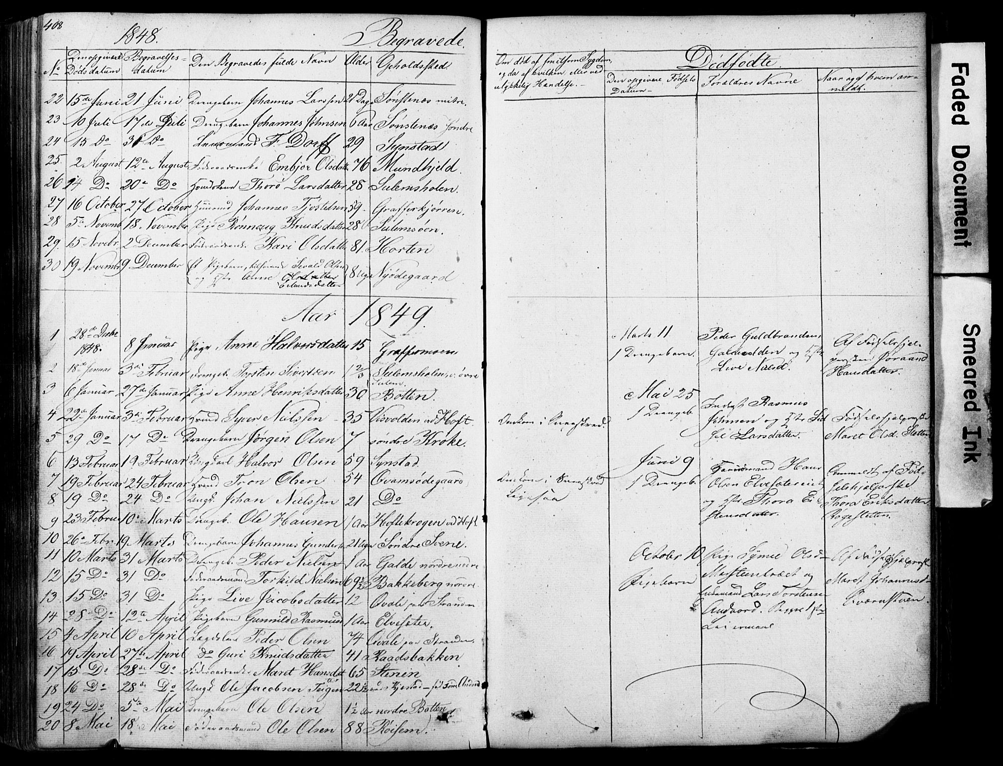 SAH, Lom prestekontor, L/L0012: Klokkerbok nr. 12, 1845-1873, s. 408-409