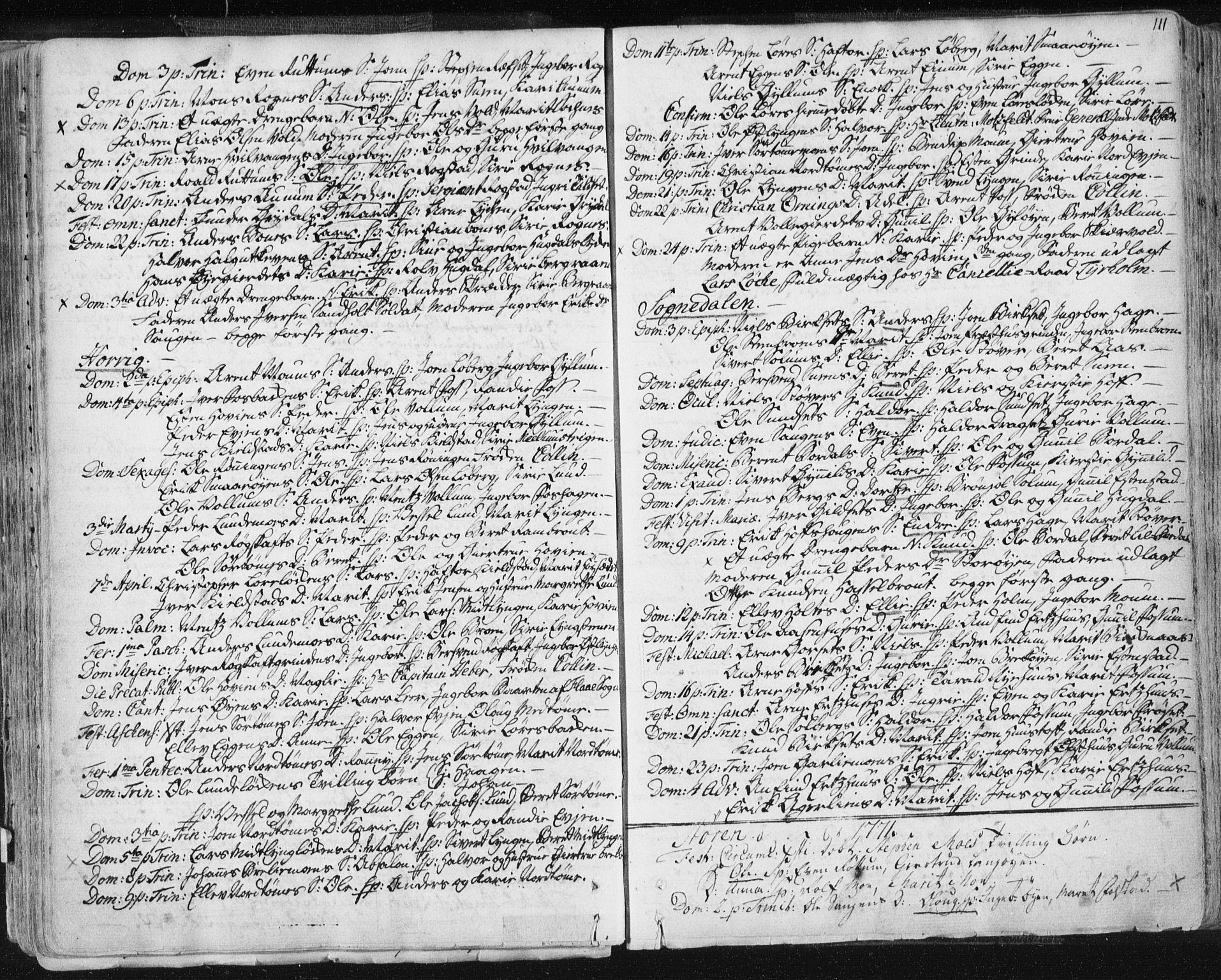 SAT, Ministerialprotokoller, klokkerbøker og fødselsregistre - Sør-Trøndelag, 687/L0991: Ministerialbok nr. 687A02, 1747-1790, s. 111