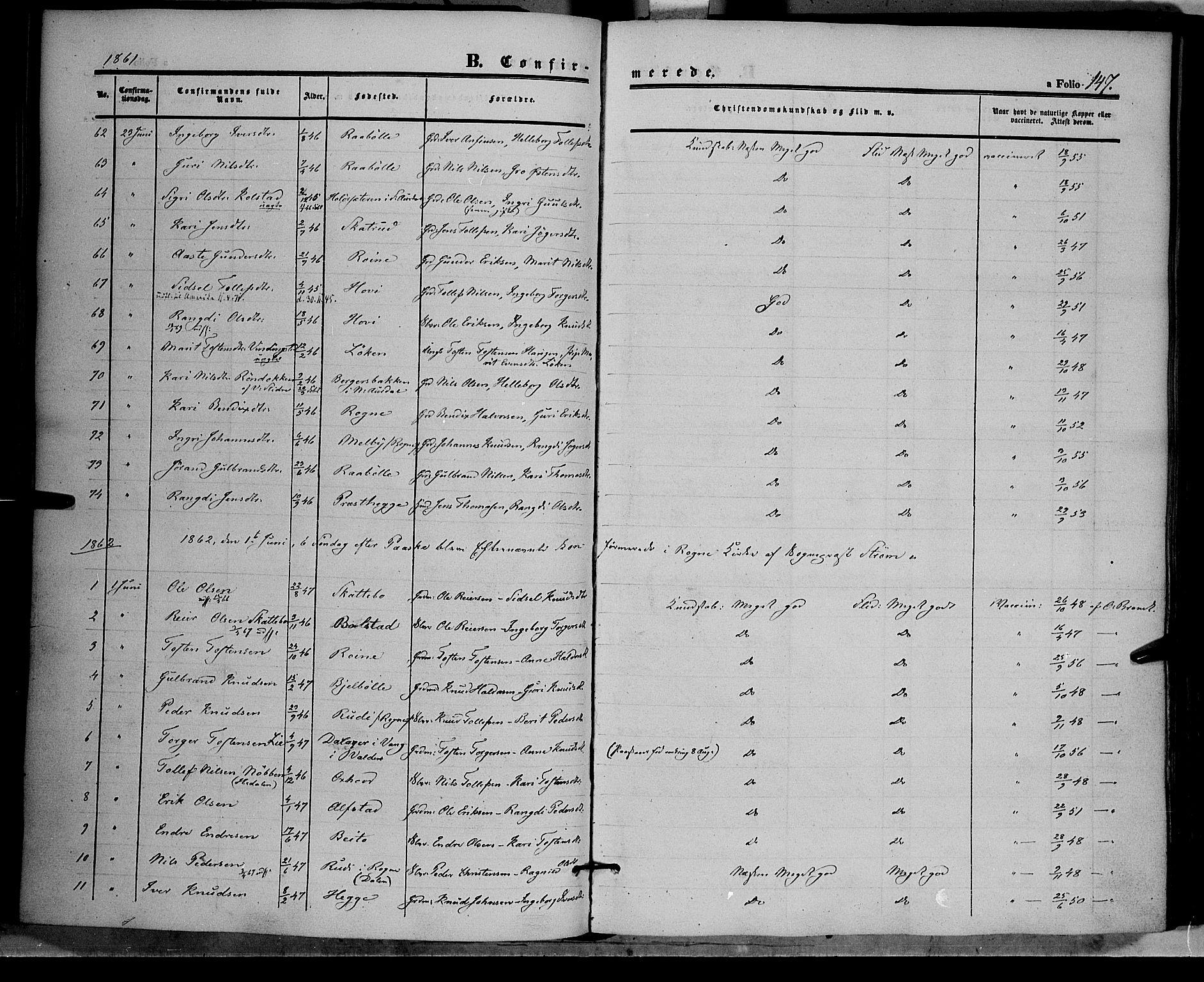 SAH, Øystre Slidre prestekontor, Ministerialbok nr. 1, 1849-1874, s. 147