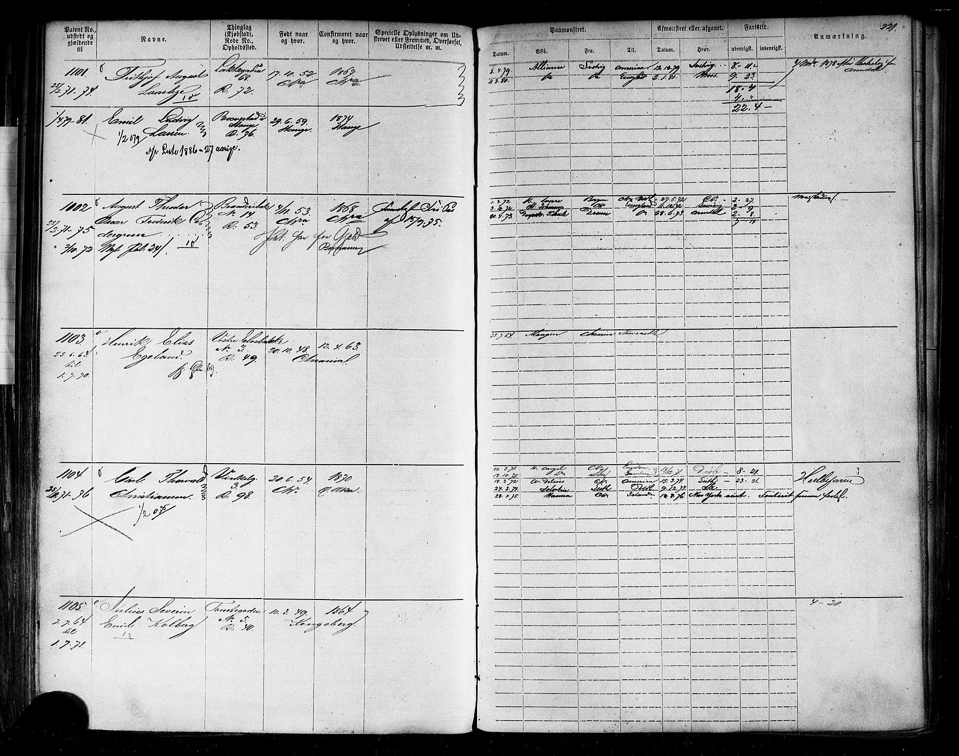 SAO, Oslo mønstringskontor, F/Fc/Fca/L0001: Annotasjonsrulle, 1866-1881, s. 220b-221a