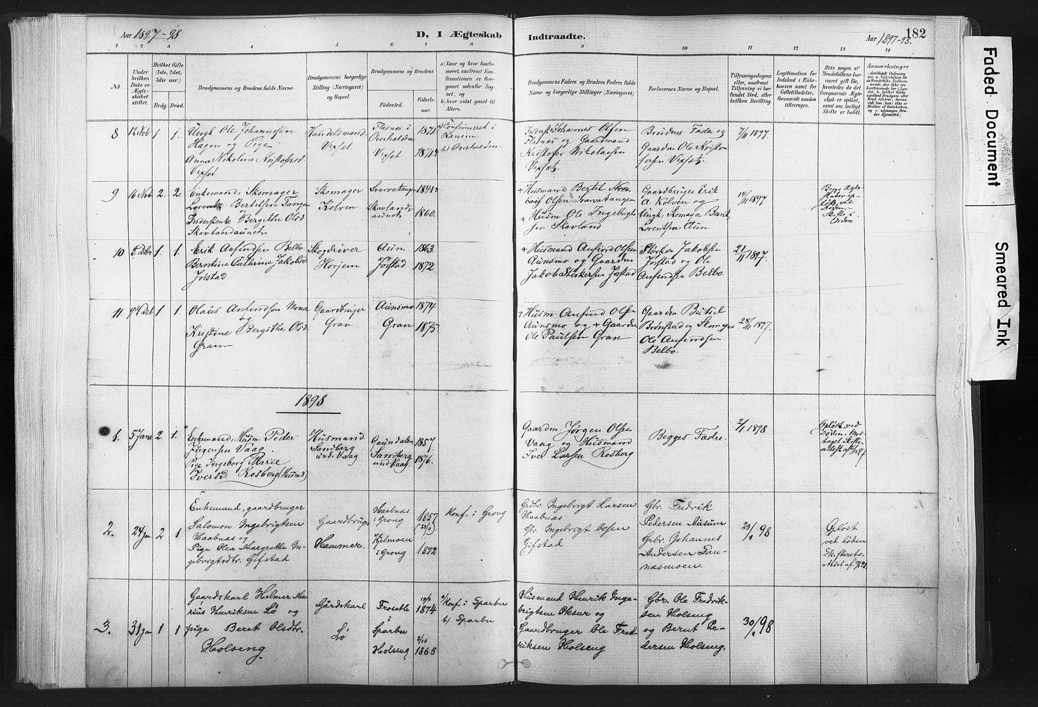 SAT, Ministerialprotokoller, klokkerbøker og fødselsregistre - Nord-Trøndelag, 749/L0474: Ministerialbok nr. 749A08, 1887-1903, s. 182