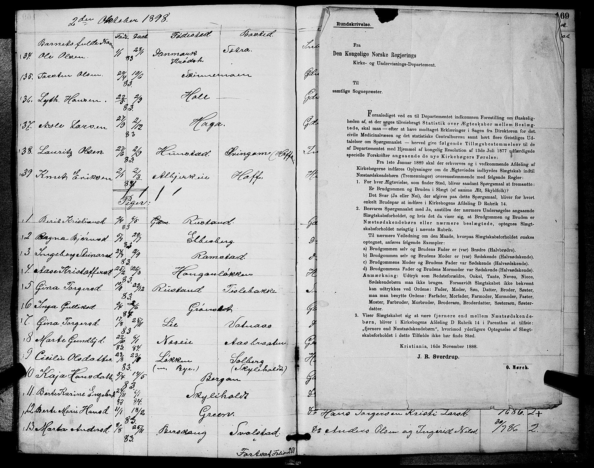 SAKO, Sigdal kirkebøker, G/Ga/L0005: Klokkerbok nr. I 5, 1886-1900, s. 169