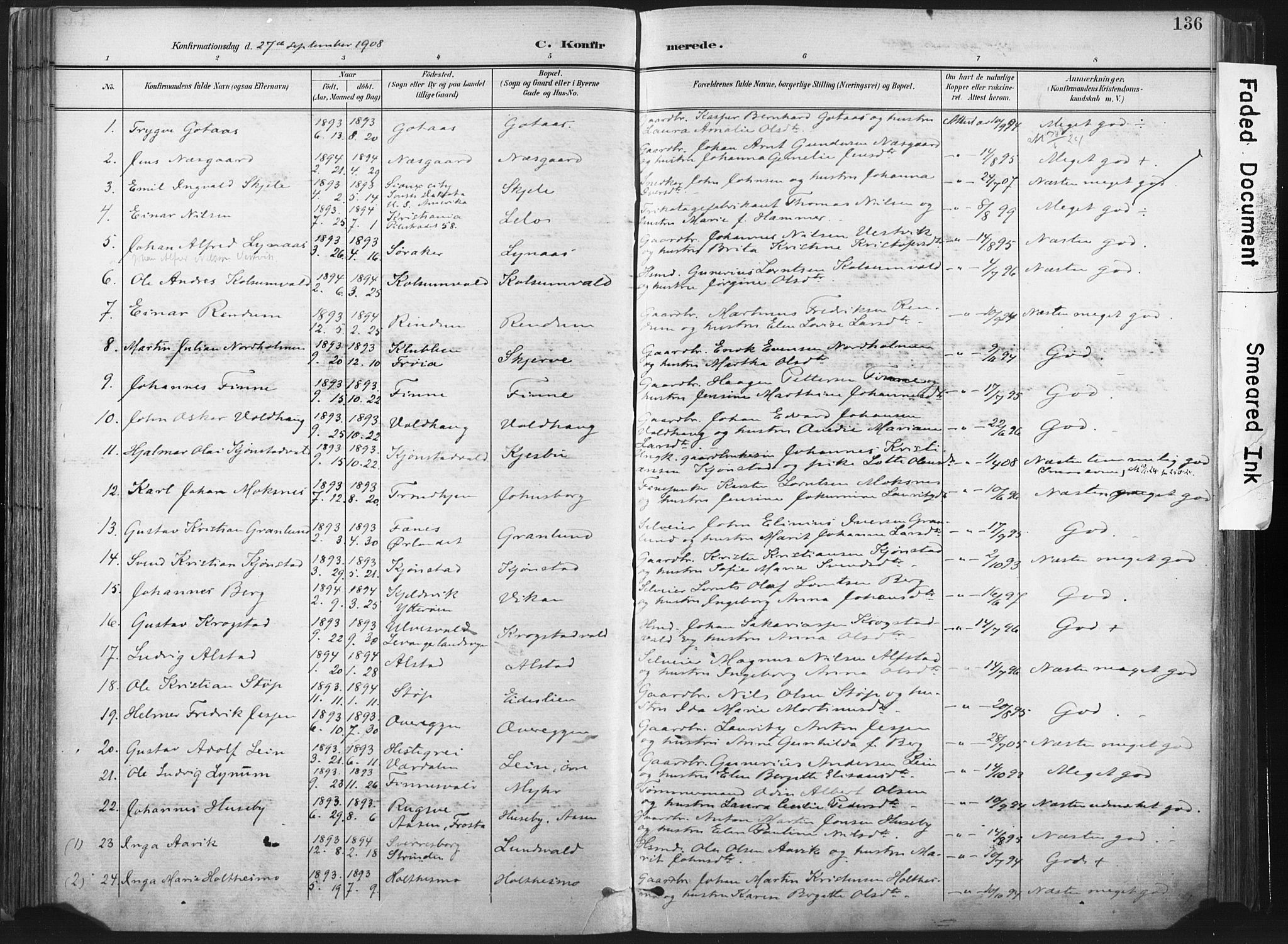 SAT, Ministerialprotokoller, klokkerbøker og fødselsregistre - Nord-Trøndelag, 717/L0162: Ministerialbok nr. 717A12, 1898-1923, s. 136