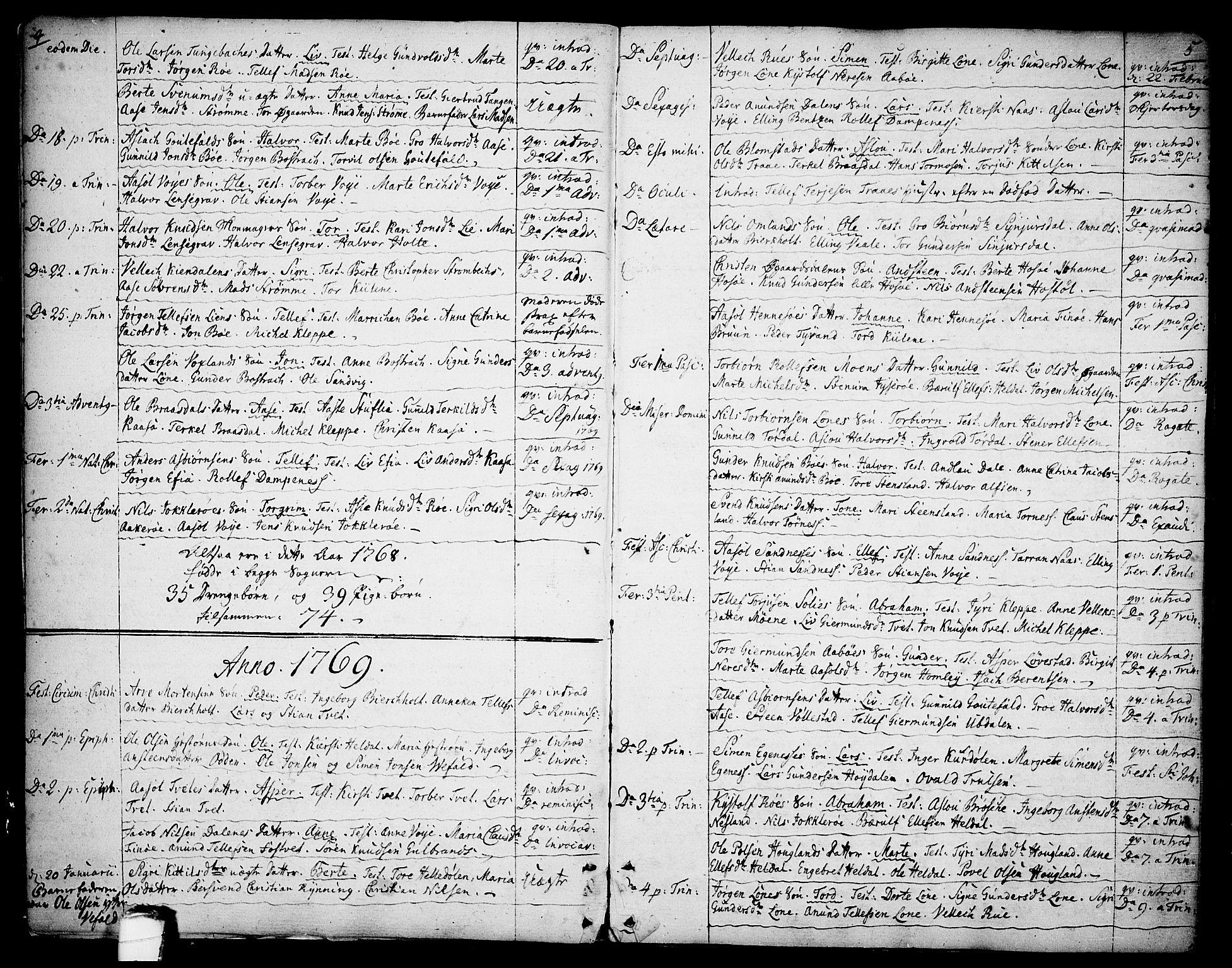 SAKO, Drangedal kirkebøker, F/Fa/L0003: Ministerialbok nr. 3, 1768-1814, s. 4-5