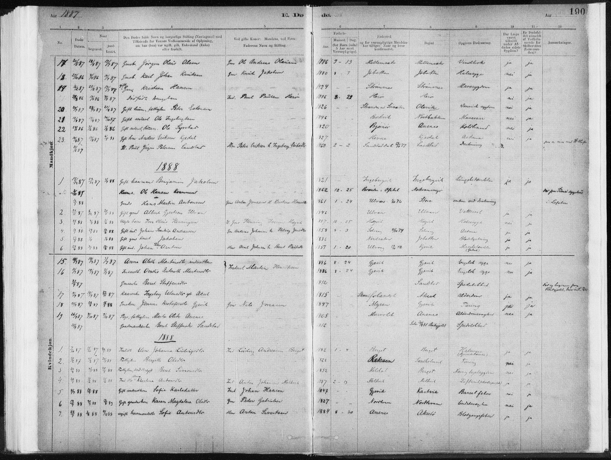 SAT, Ministerialprotokoller, klokkerbøker og fødselsregistre - Sør-Trøndelag, 637/L0558: Ministerialbok nr. 637A01, 1882-1899, s. 190