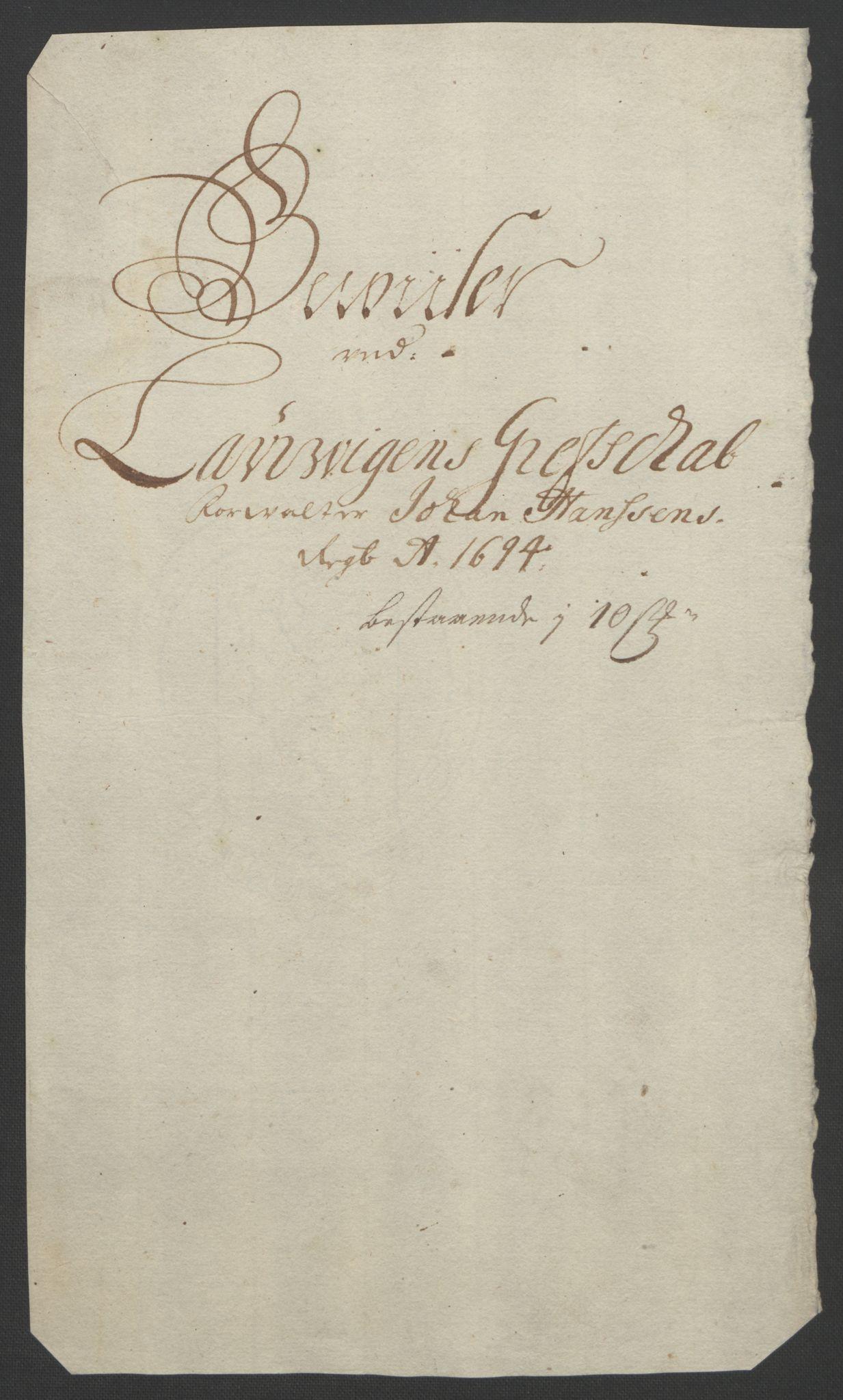 RA, Rentekammeret inntil 1814, Reviderte regnskaper, Fogderegnskap, R33/L1974: Fogderegnskap Larvik grevskap, 1693-1695, s. 174