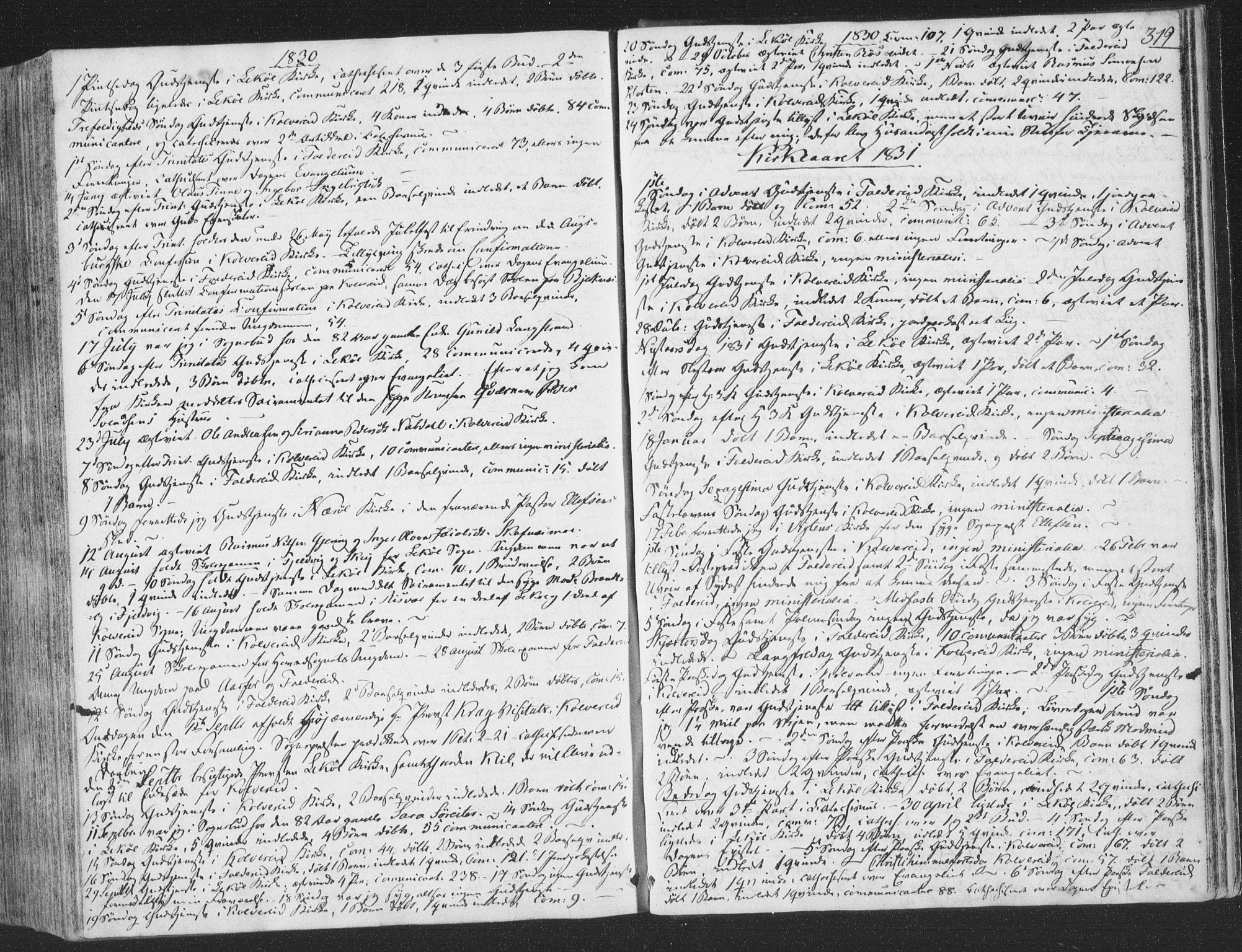 SAT, Ministerialprotokoller, klokkerbøker og fødselsregistre - Nord-Trøndelag, 780/L0639: Ministerialbok nr. 780A04, 1830-1844, s. 319