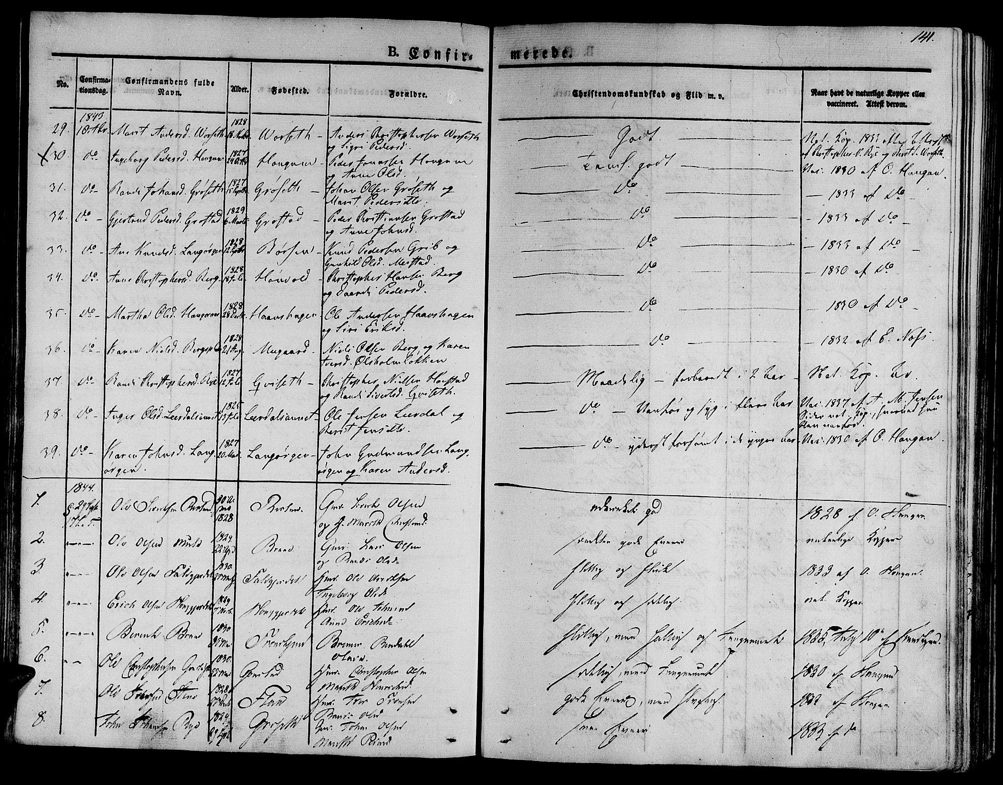 SAT, Ministerialprotokoller, klokkerbøker og fødselsregistre - Sør-Trøndelag, 612/L0374: Ministerialbok nr. 612A07 /1, 1829-1845, s. 141