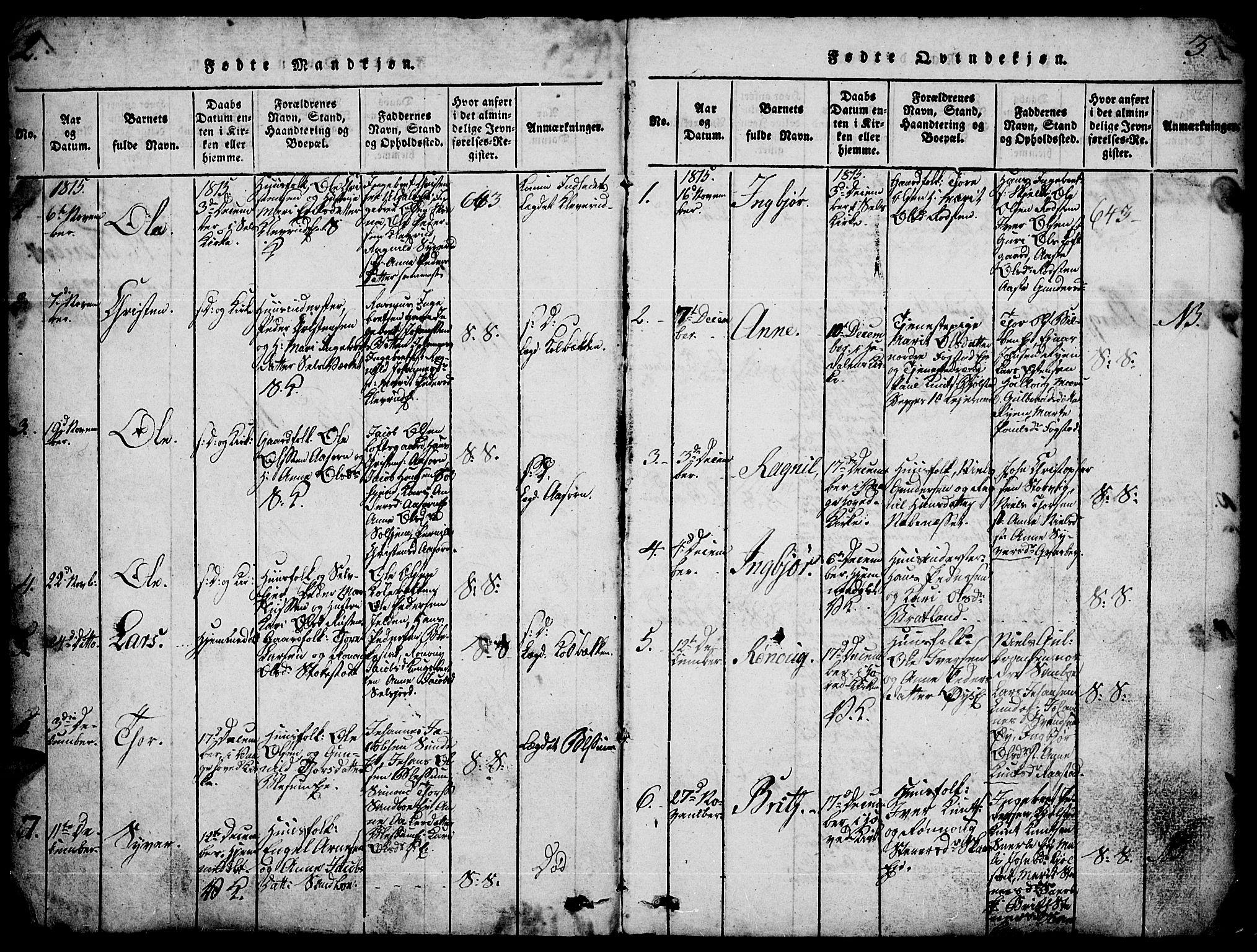 SAH, Vågå prestekontor, Ministerialbok nr. 3, 1815-1827, s. 2-3