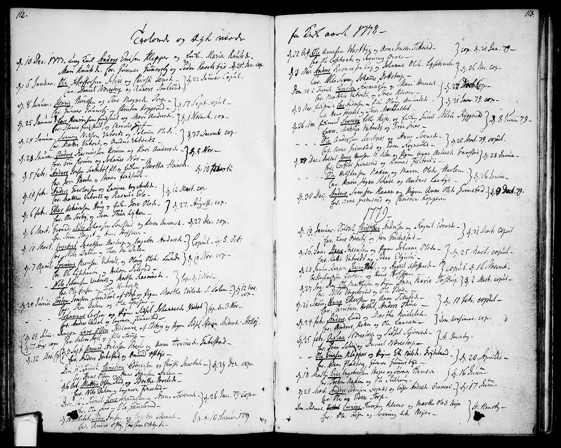 SAO, Rakkestad prestekontor Kirkebøker, F/Fa/L0004: Ministerialbok nr. I 4, 1777-1783, s. 112-113