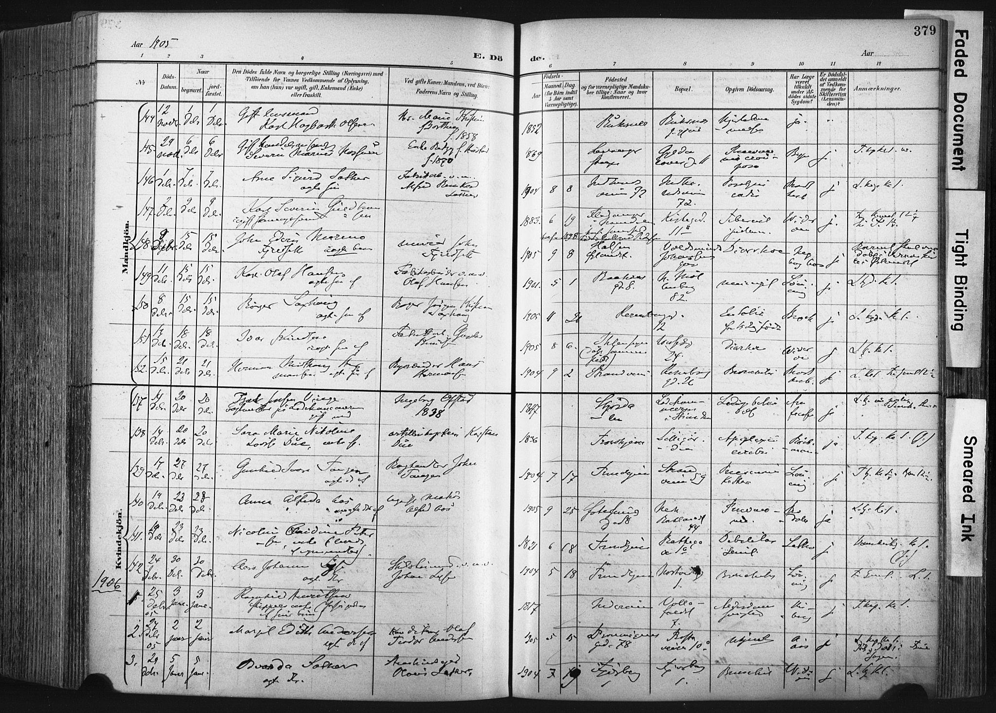 SAT, Ministerialprotokoller, klokkerbøker og fødselsregistre - Sør-Trøndelag, 604/L0201: Ministerialbok nr. 604A21, 1901-1911, s. 379