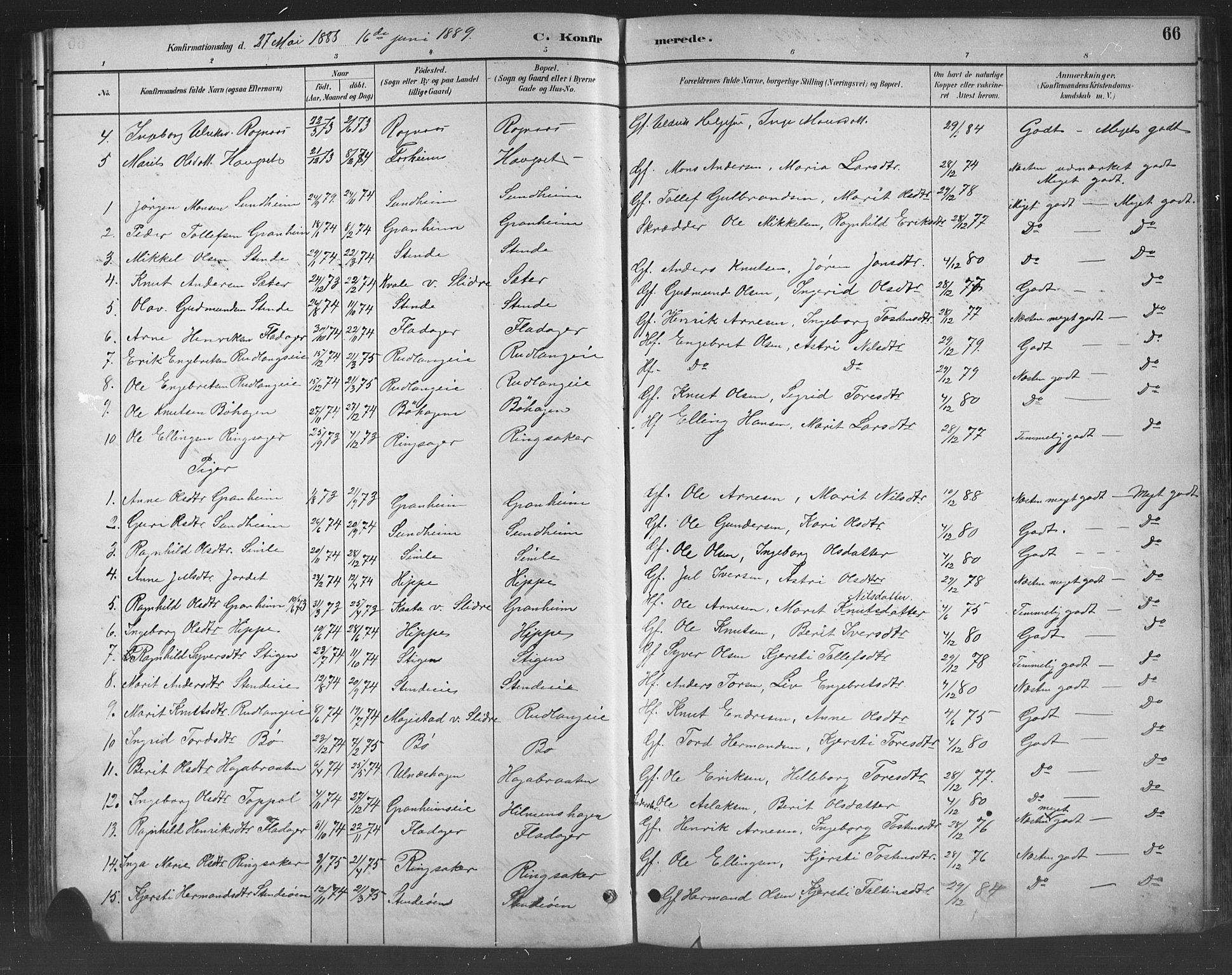 SAH, Nord-Aurdal prestekontor, Klokkerbok nr. 8, 1883-1916, s. 66