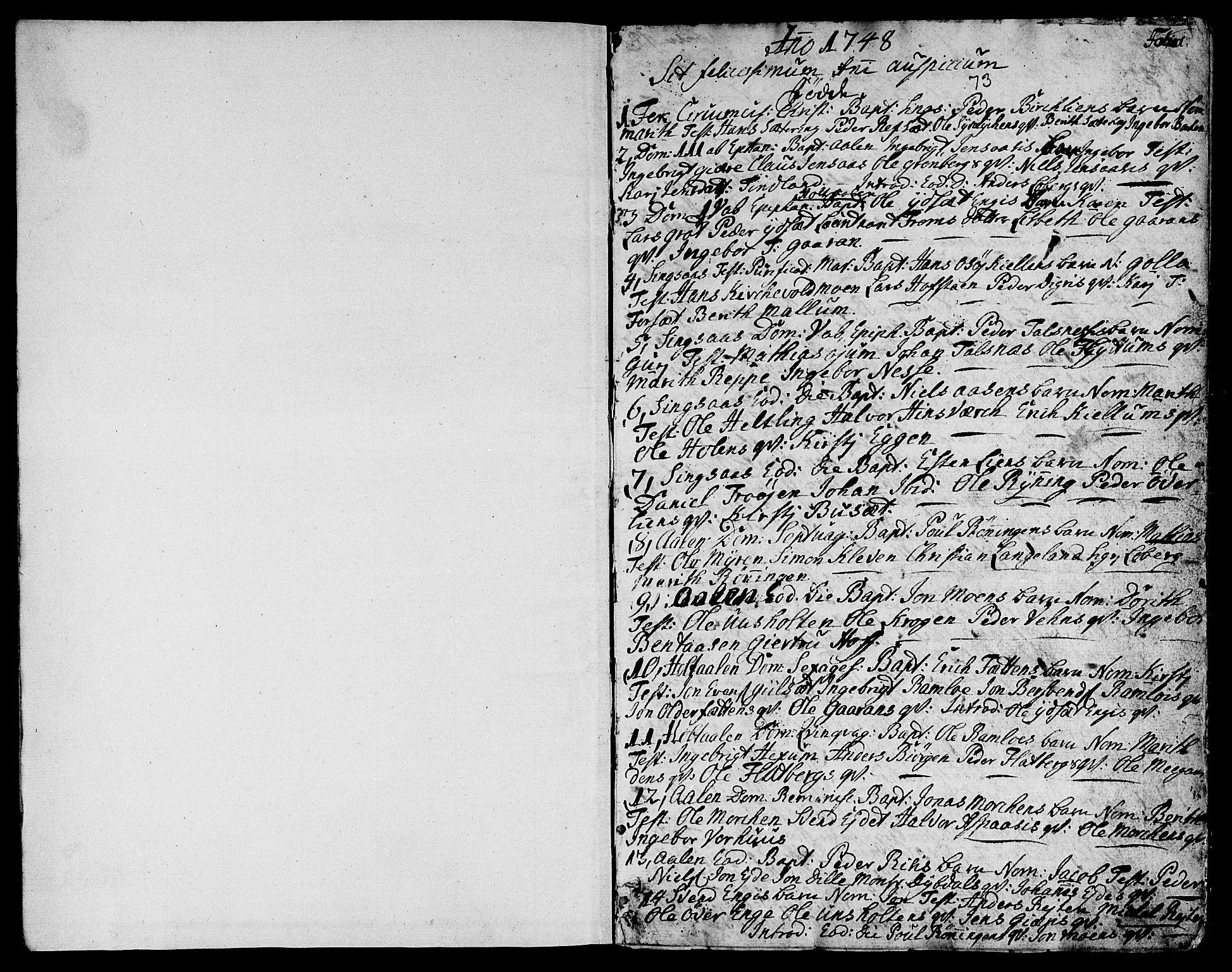 SAT, Ministerialprotokoller, klokkerbøker og fødselsregistre - Sør-Trøndelag, 685/L0952: Ministerialbok nr. 685A01, 1745-1804, s. 1