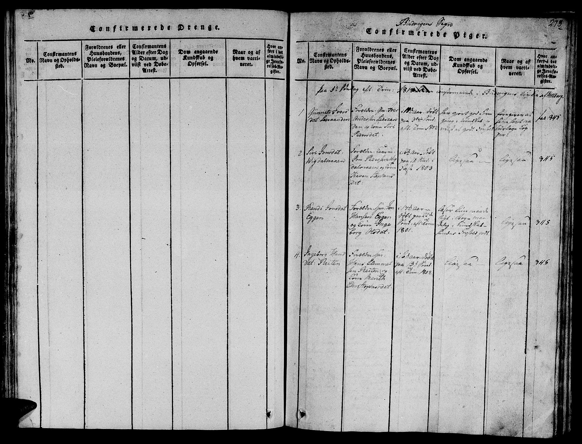 SAT, Ministerialprotokoller, klokkerbøker og fødselsregistre - Sør-Trøndelag, 612/L0373: Ministerialbok nr. 612A06 /2, 1816-1828, s. 273