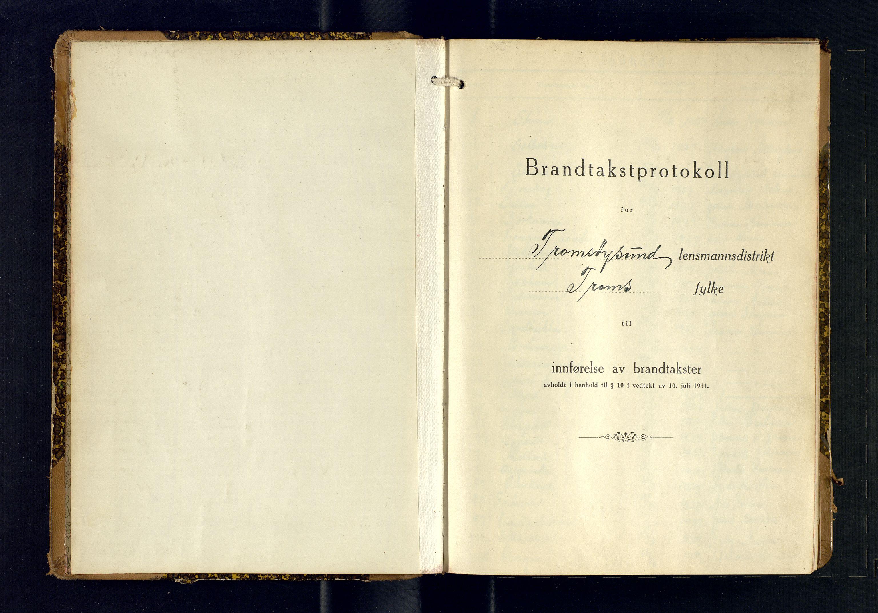 SATØ, Tromsøysund lensmannskontor, F/Fs/Fsb/L0755: Branntakstprotokoll (S). Med register, 1937-1938