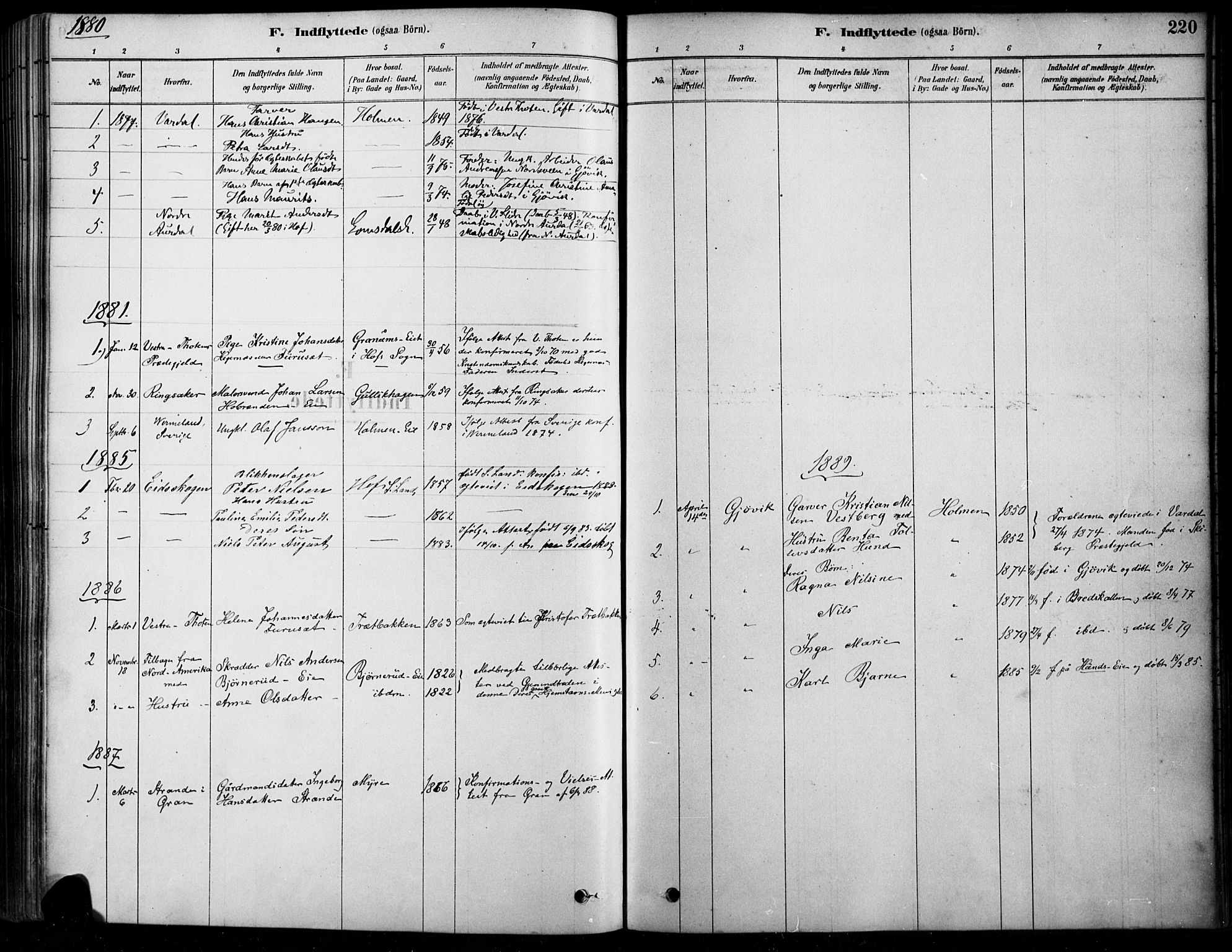 SAH, Søndre Land prestekontor, K/L0003: Ministerialbok nr. 3, 1878-1894, s. 220
