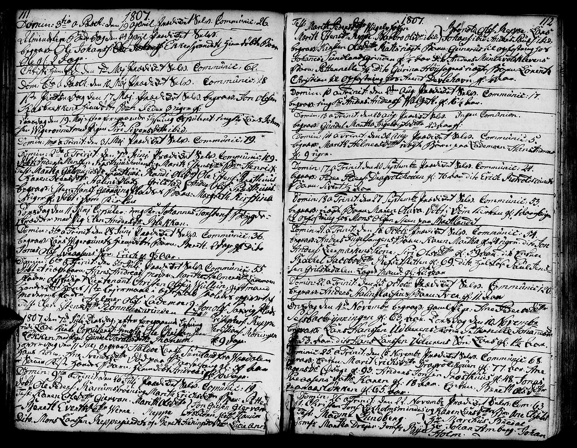 SAT, Ministerialprotokoller, klokkerbøker og fødselsregistre - Sør-Trøndelag, 606/L0280: Ministerialbok nr. 606A02 /1, 1781-1817, s. 111-112