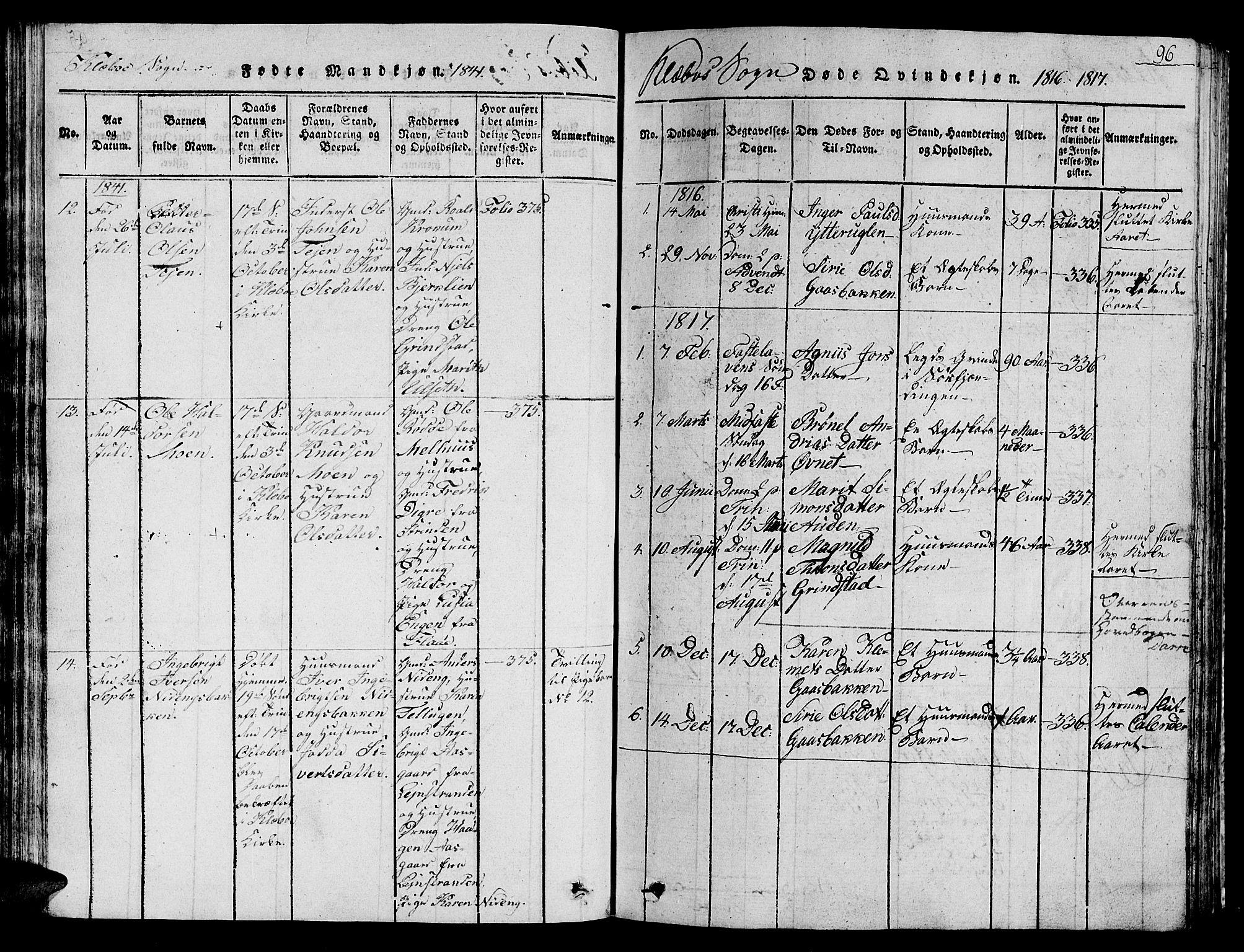 SAT, Ministerialprotokoller, klokkerbøker og fødselsregistre - Sør-Trøndelag, 618/L0450: Klokkerbok nr. 618C01, 1816-1865, s. 96