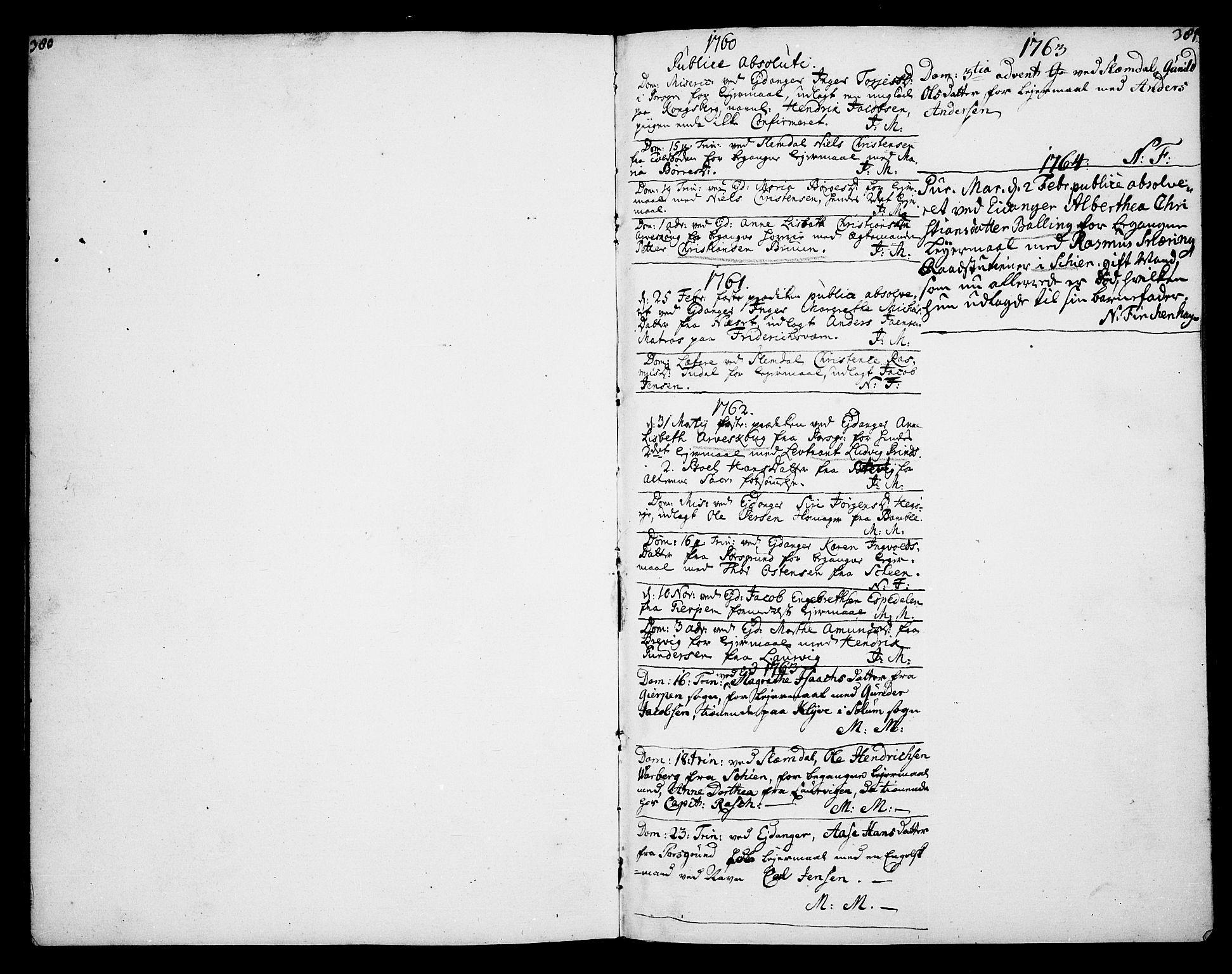 SAKO, Eidanger kirkebøker, F/Fa/L0005: Ministerialbok nr. 5, 1760-1764, s. 380-381