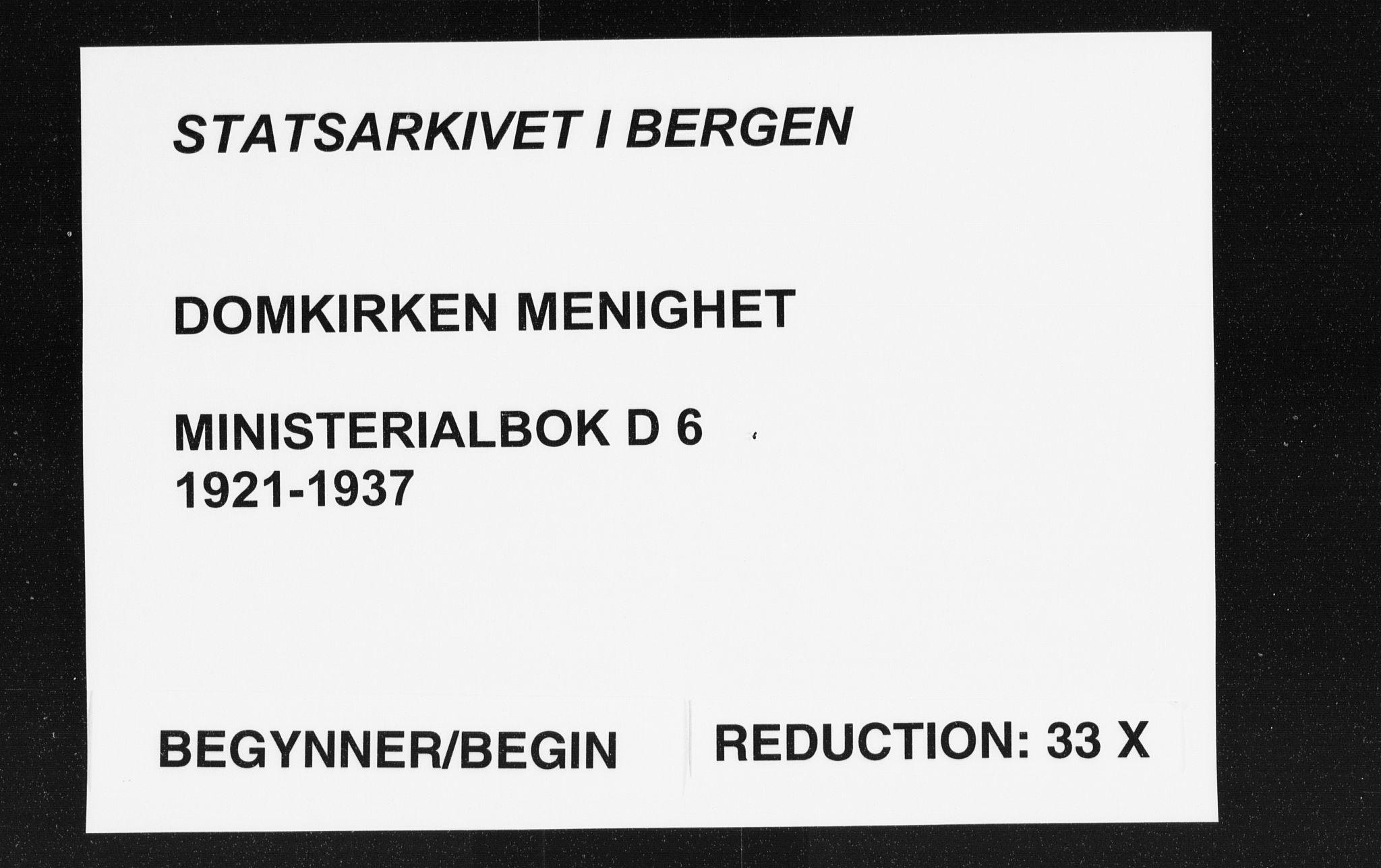 SAB, Domkirken sokneprestembete, H/Haa/L0039: Ministerialbok nr. D 6, 1921-1937