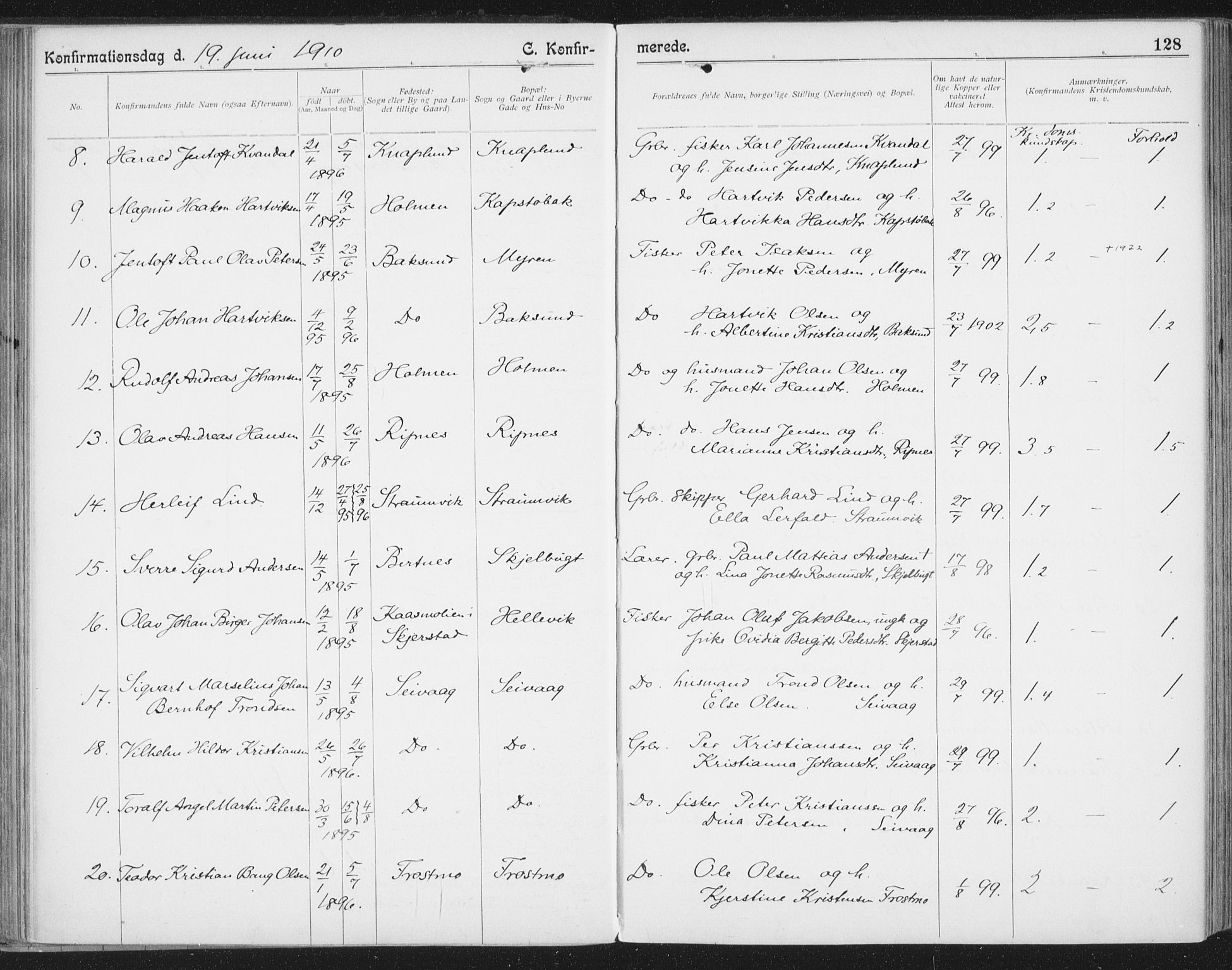 SAT, Ministerialprotokoller, klokkerbøker og fødselsregistre - Nordland, 804/L0081: Ministerialbok nr. 804A02, 1901-1915, s. 128