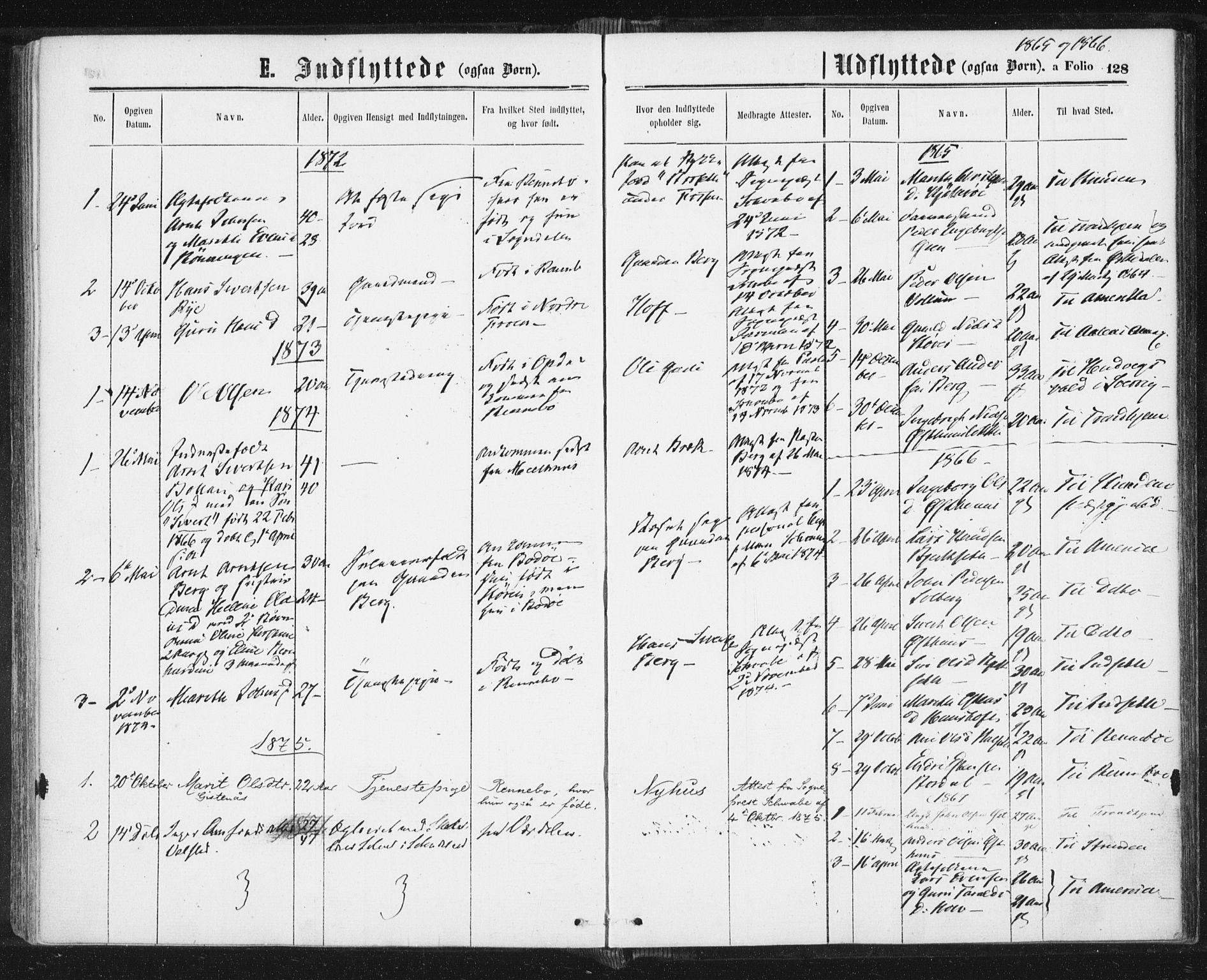SAT, Ministerialprotokoller, klokkerbøker og fødselsregistre - Sør-Trøndelag, 689/L1039: Ministerialbok nr. 689A04, 1865-1878, s. 128