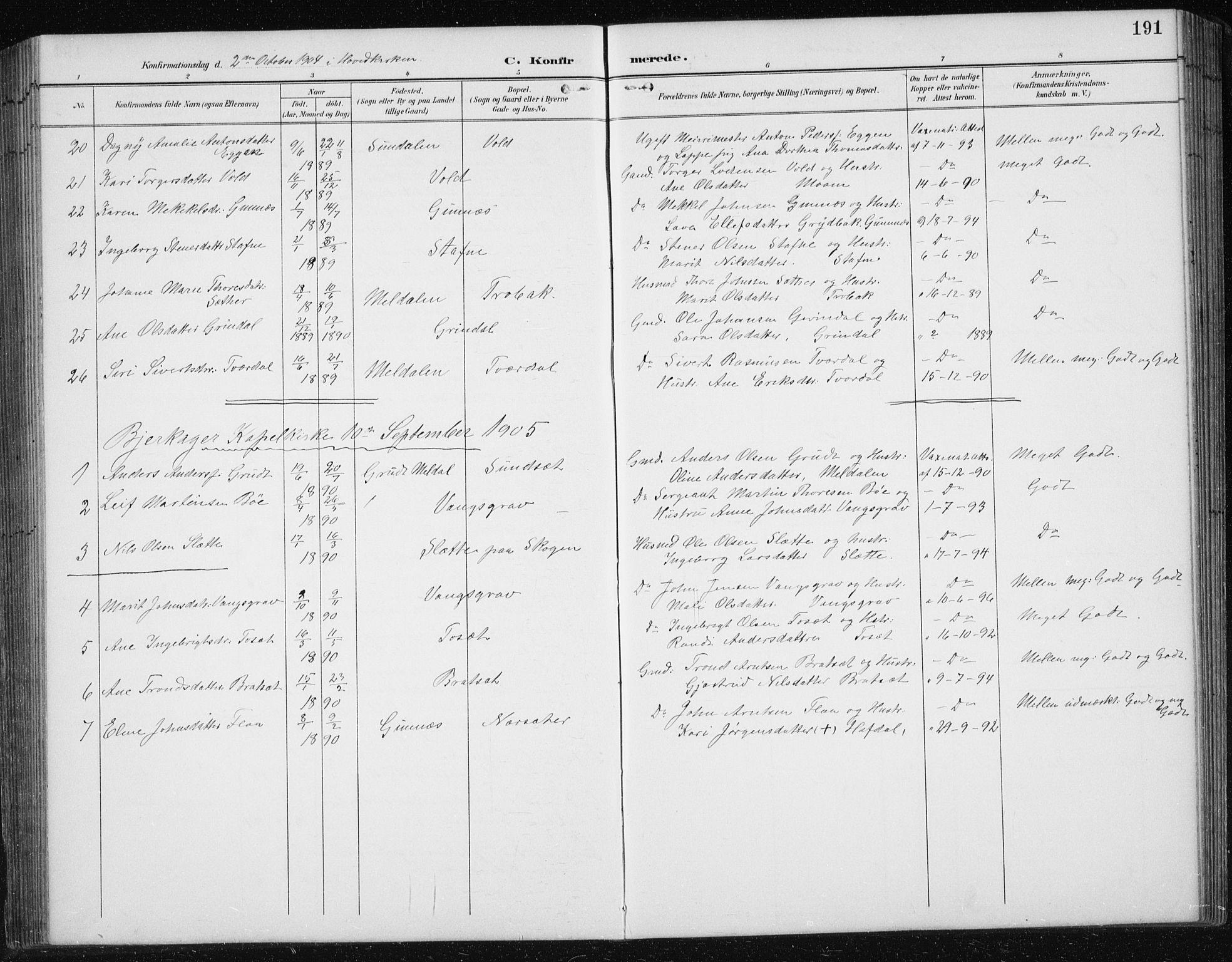 SAT, Ministerialprotokoller, klokkerbøker og fødselsregistre - Sør-Trøndelag, 674/L0876: Klokkerbok nr. 674C03, 1892-1912, s. 191