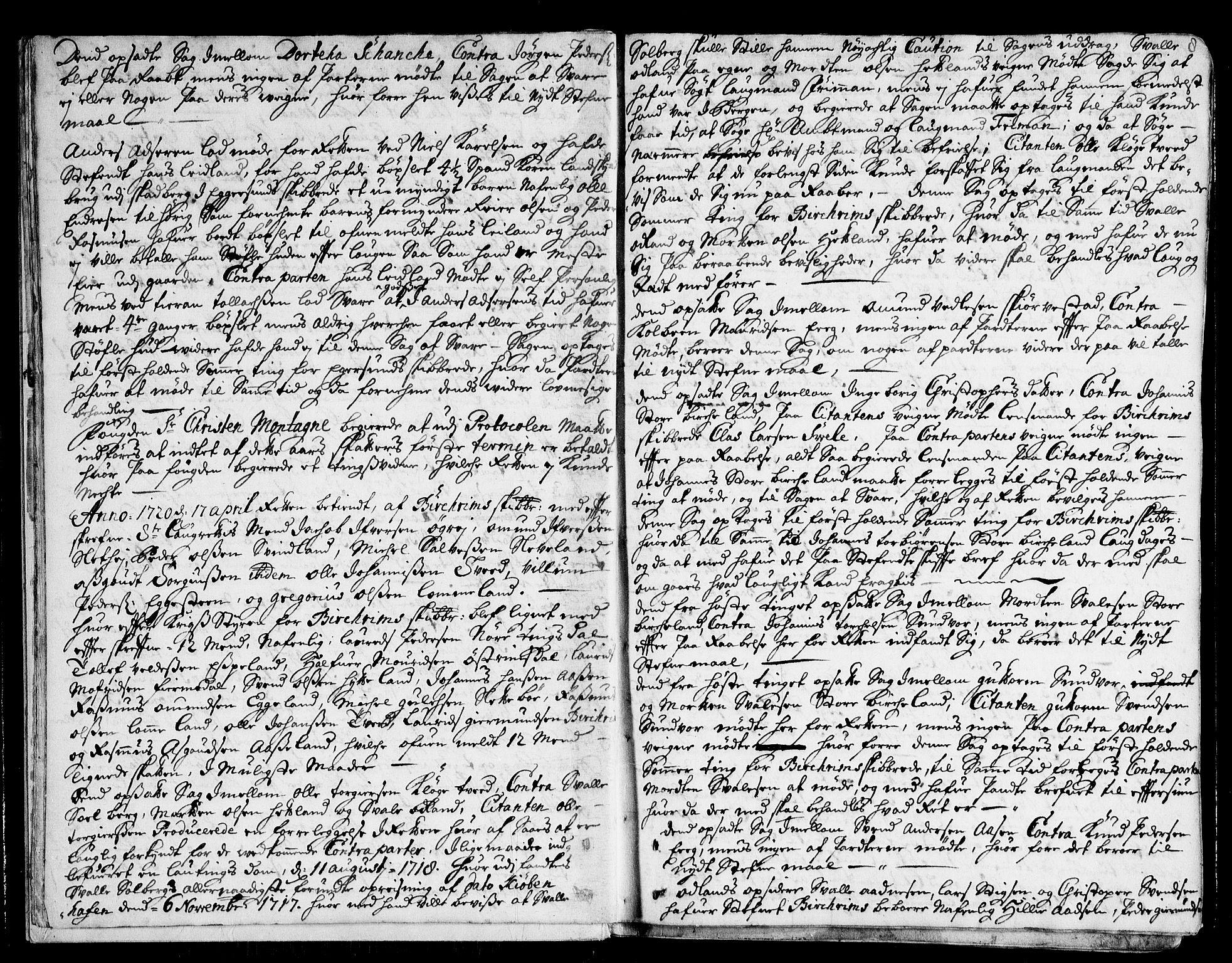 SAST, Jæren og Dalane sorenskriveri, 3/30/30BA/L0071: TINGBOK, 1720-1722, s. 7b-8a