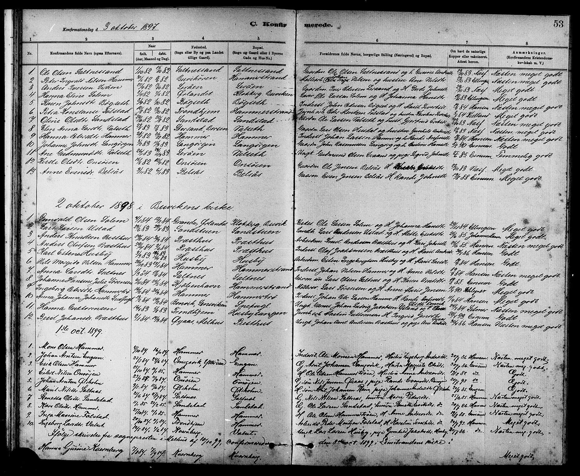SAT, Ministerialprotokoller, klokkerbøker og fødselsregistre - Sør-Trøndelag, 666/L0790: Klokkerbok nr. 666C03, 1885-1908, s. 53