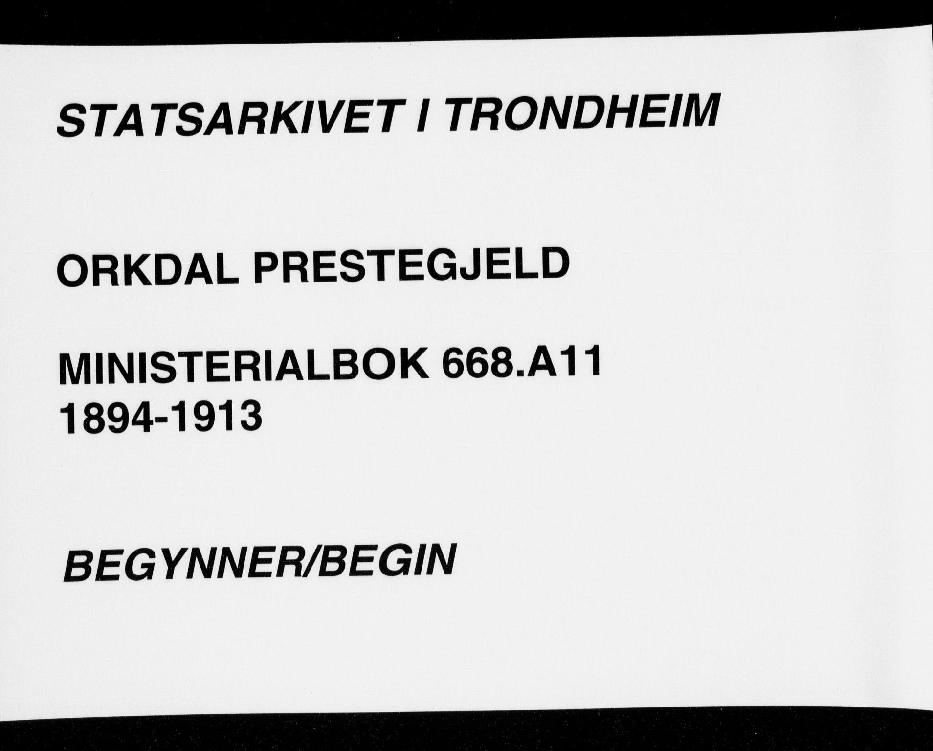 SAT, Ministerialprotokoller, klokkerbøker og fødselsregistre - Sør-Trøndelag, 668/L0811: Ministerialbok nr. 668A11, 1894-1913