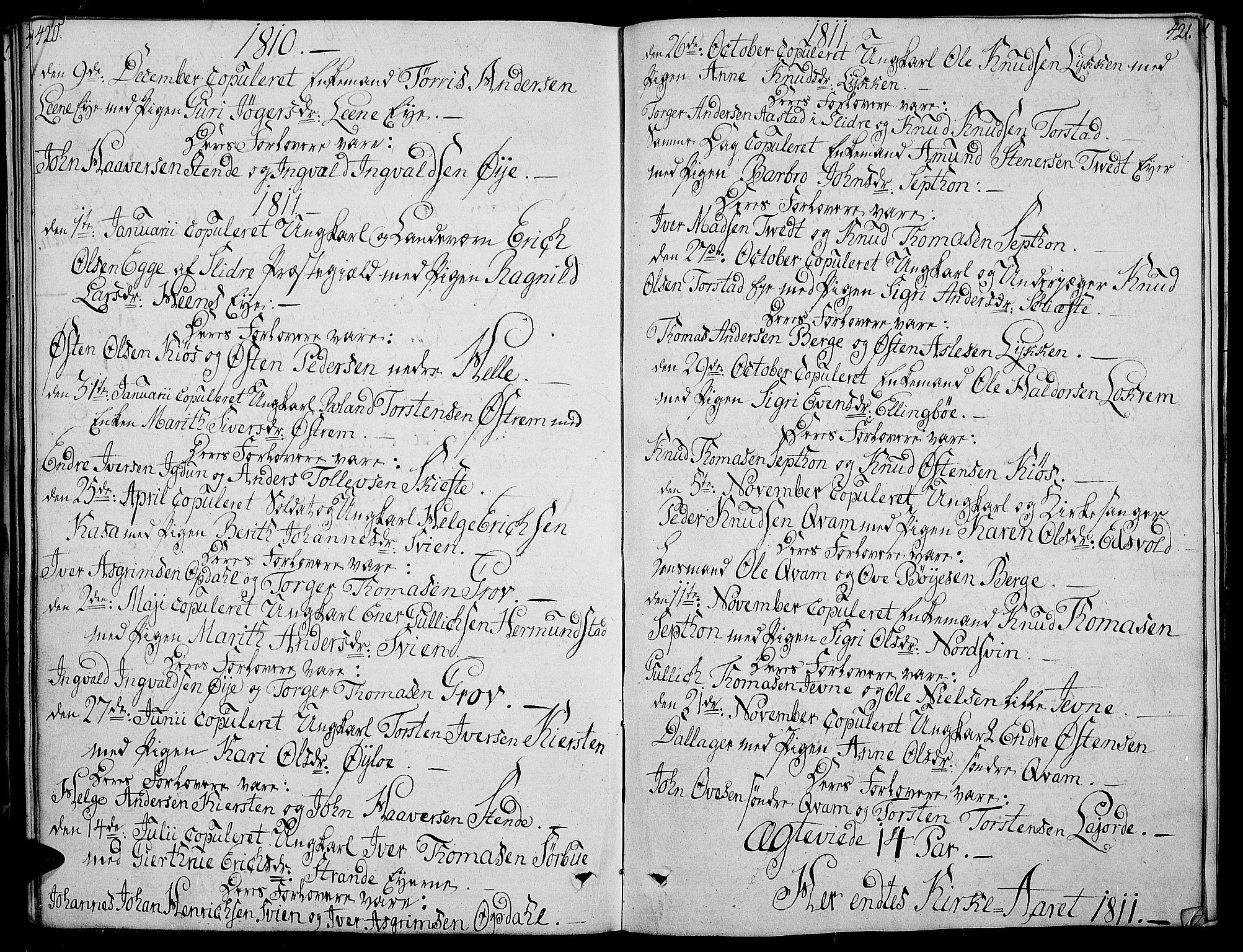 SAH, Vang prestekontor, Valdres, Ministerialbok nr. 3, 1809-1831, s. 420-421