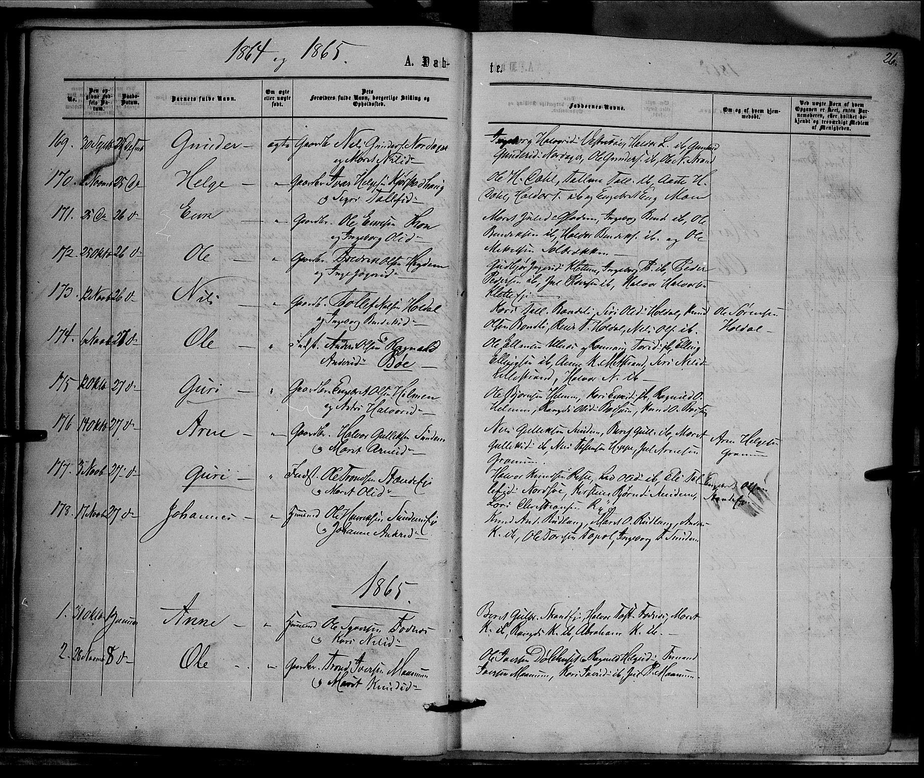 SAH, Nord-Aurdal prestekontor, Ministerialbok nr. 8, 1863-1875, s. 26