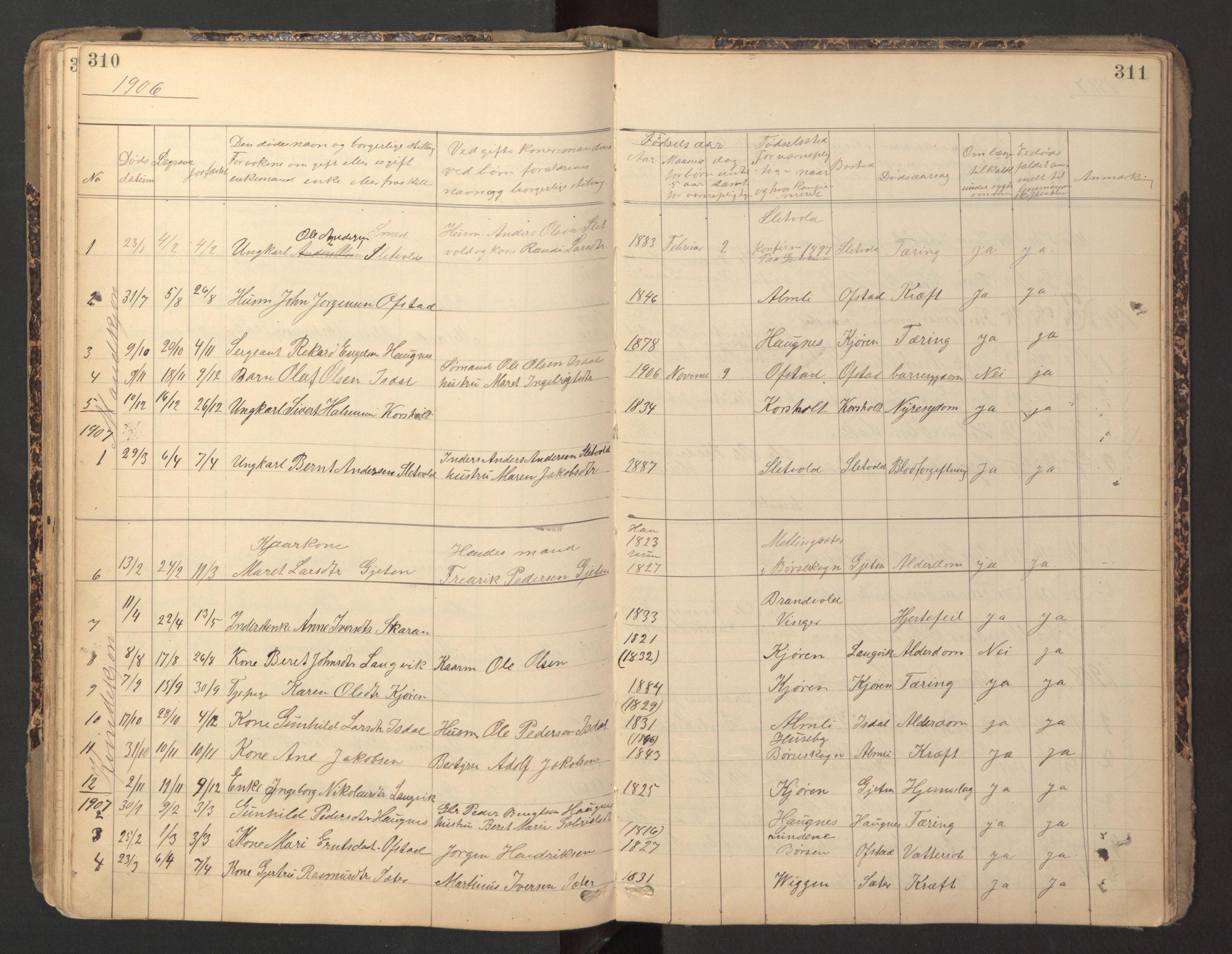 SAT, Ministerialprotokoller, klokkerbøker og fødselsregistre - Sør-Trøndelag, 670/L0837: Klokkerbok nr. 670C01, 1905-1946, s. 310-311