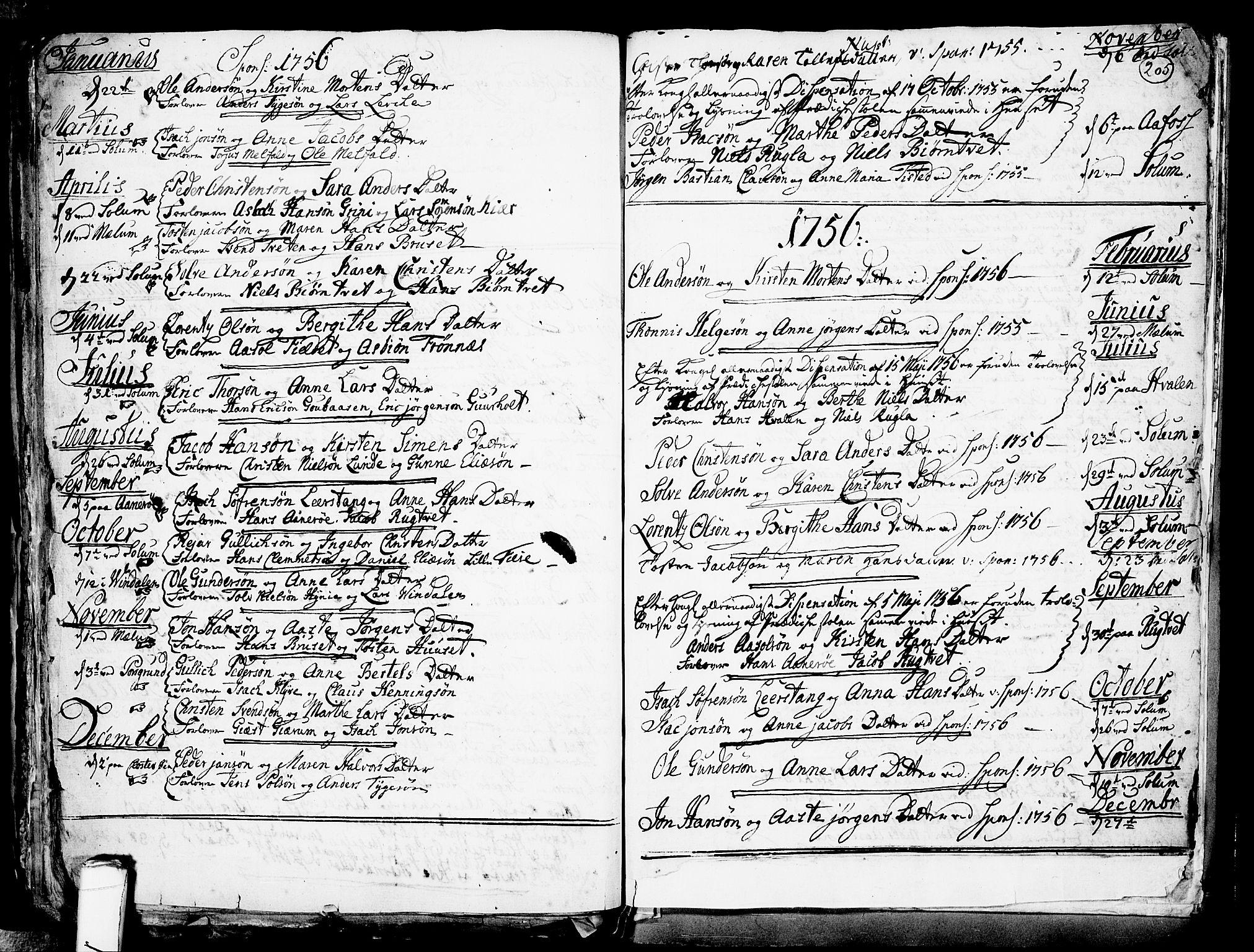 SAKO, Solum kirkebøker, F/Fa/L0002: Ministerialbok nr. I 2, 1713-1761, s. 205