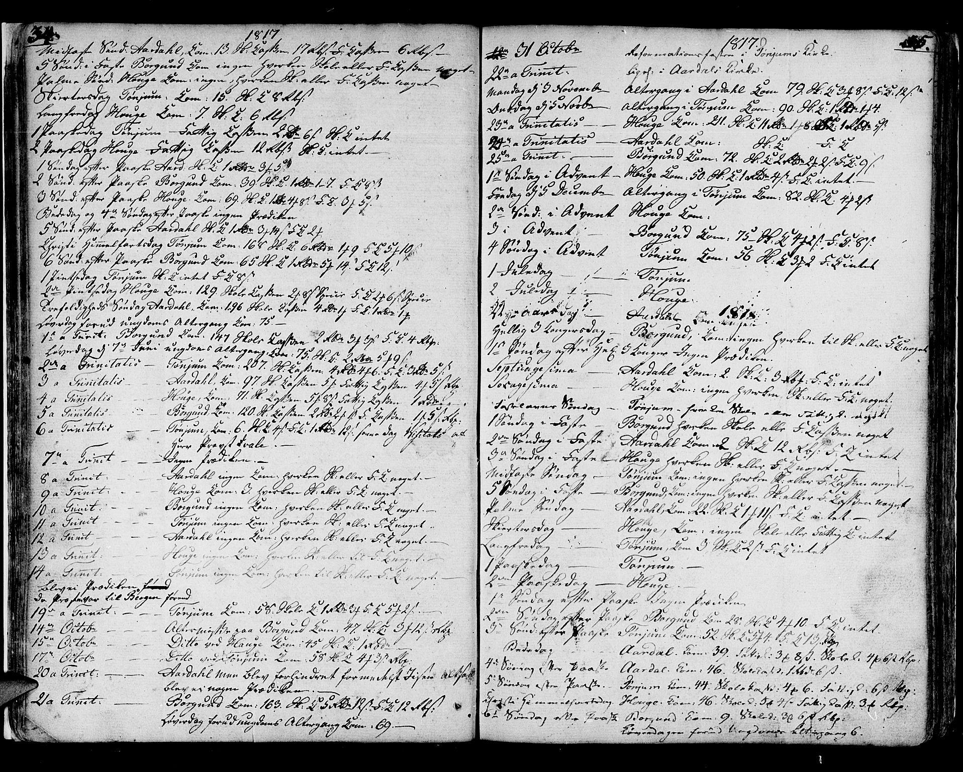 SAB, Lærdal sokneprestembete, Ministerialbok nr. A 4, 1805-1821, s. 34-35
